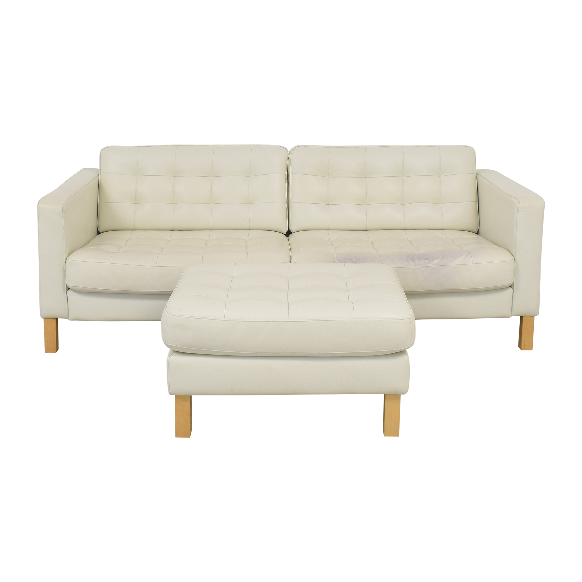IKEA IKEA Two Cushion Sofa with Ottoman off white