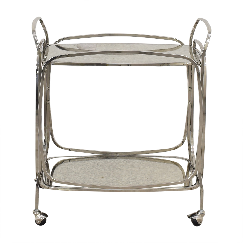 West Elm West Elm Foxed Mirror Bar Cart silver