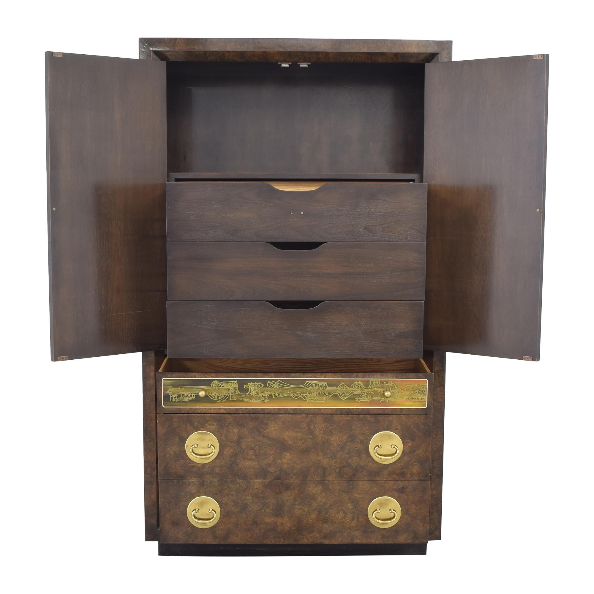 buy Mastercraft Furniture Mastercraft Burlwood Armoir Dresser Vintage online