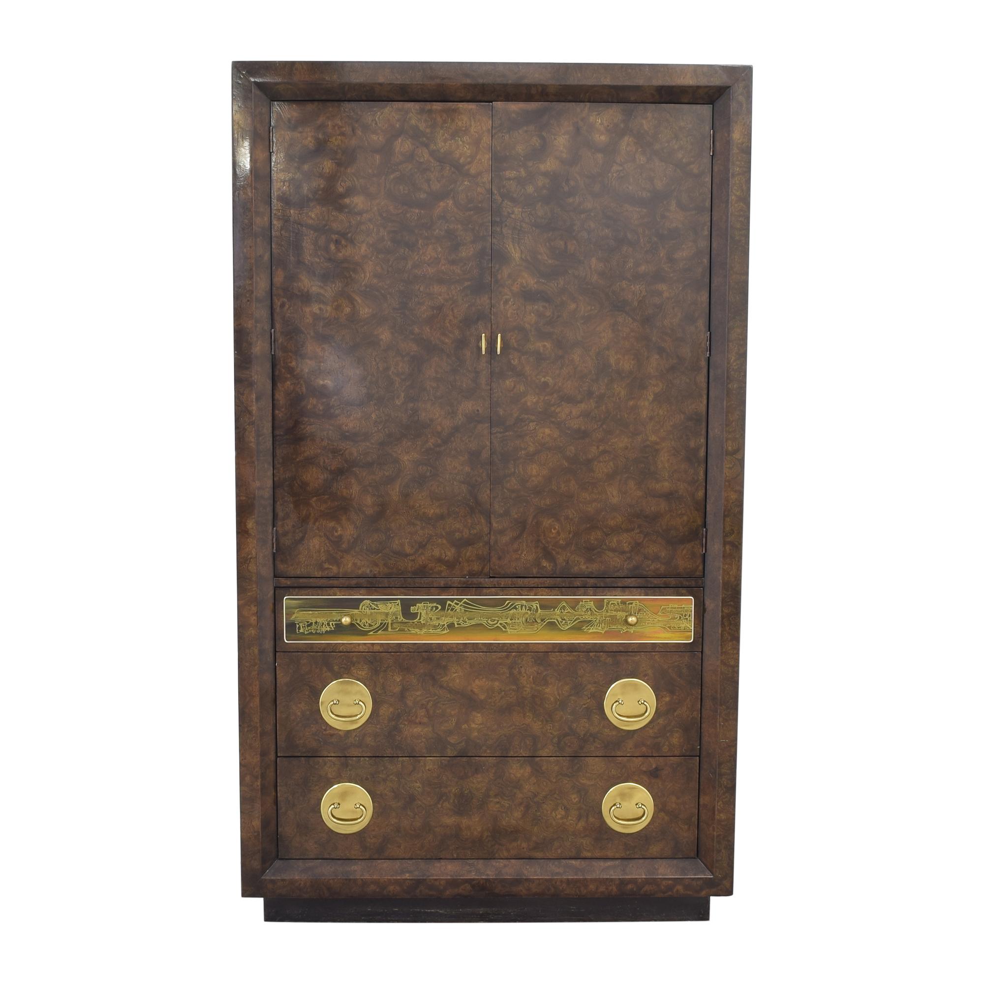 shop Mastercraft Burlwood Armoir Dresser Vintage Mastercraft Furniture Wardrobes & Armoires
