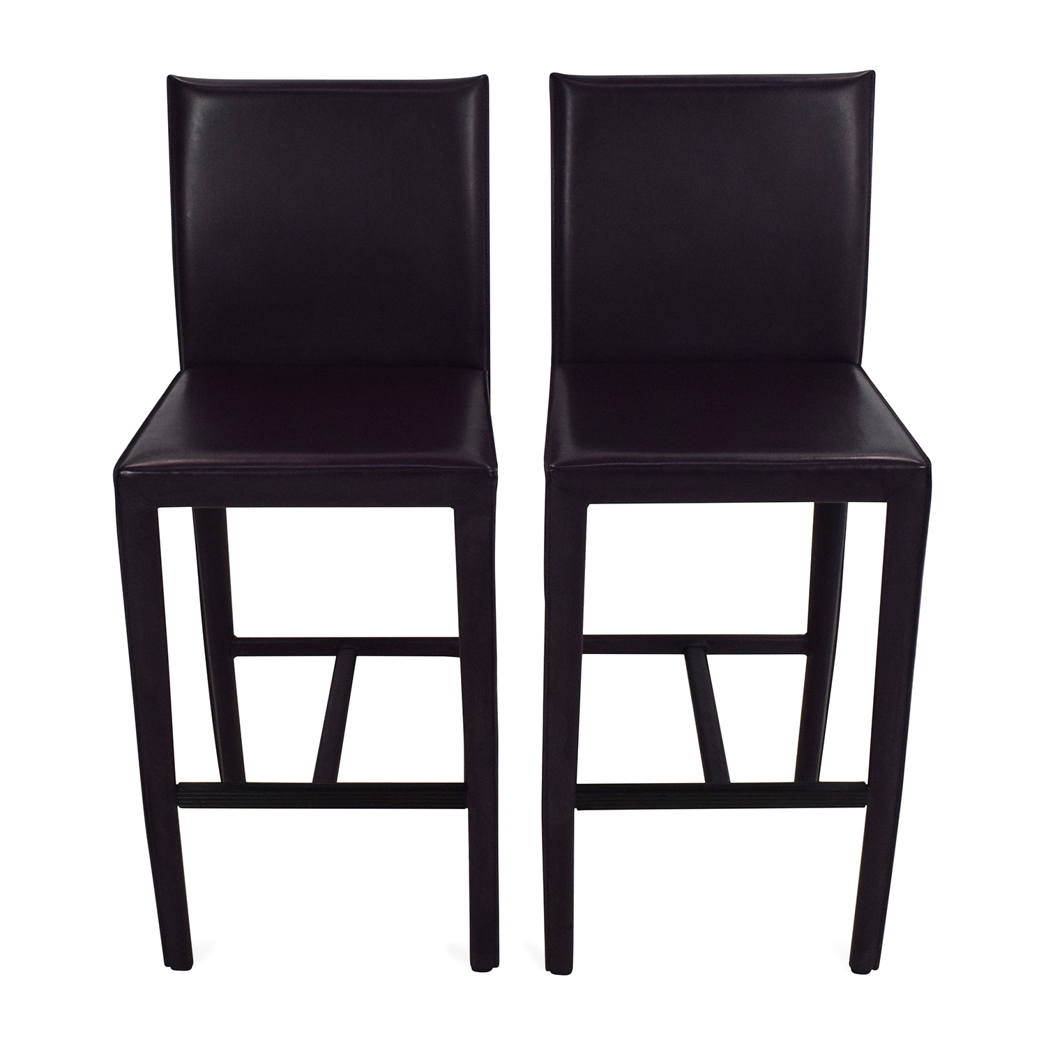 Crate and Barrel Crate & Barrel Folio Leather Barstools on sale