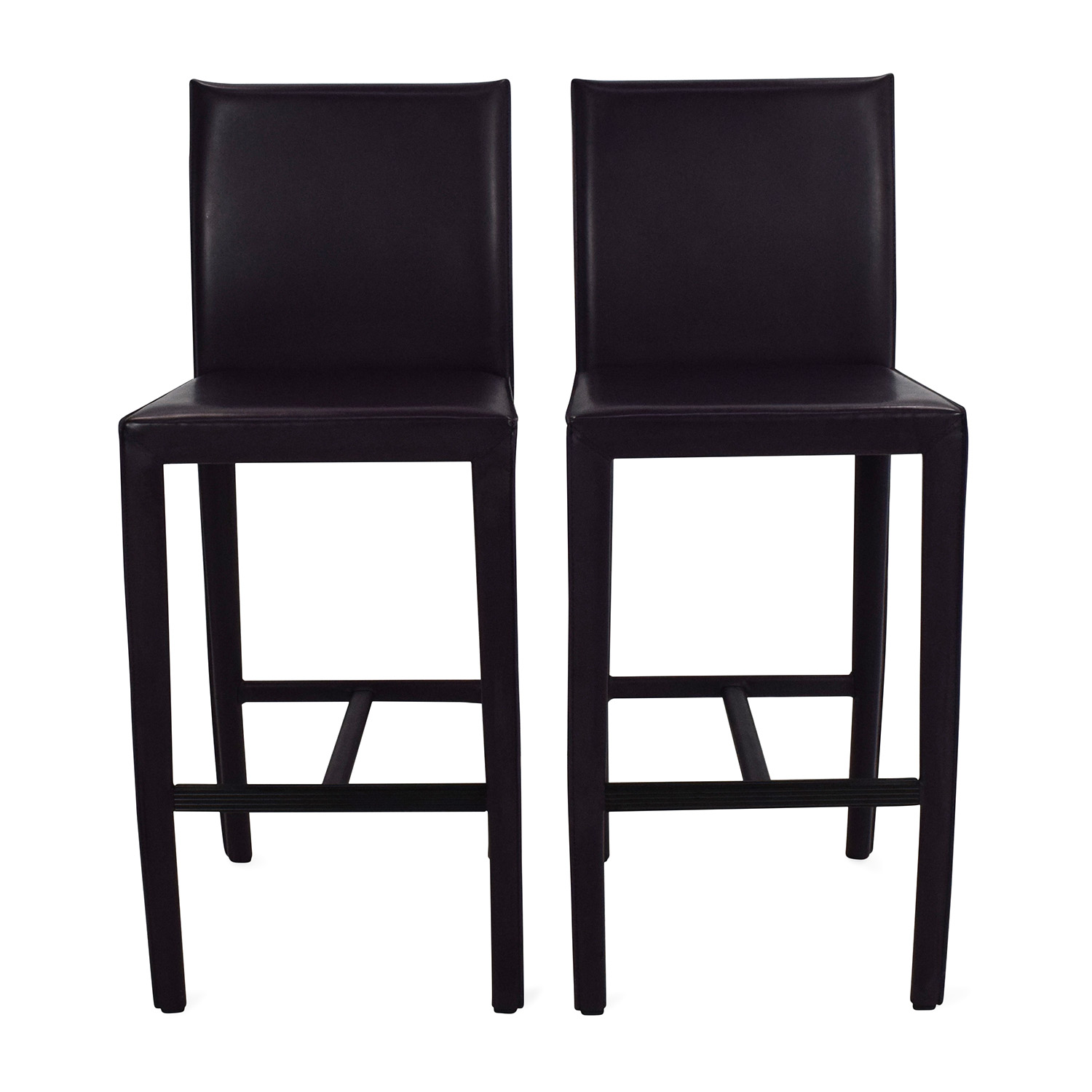 61 Off Crate Barrel Crate Barrel Folio Leather Barstools Chairs