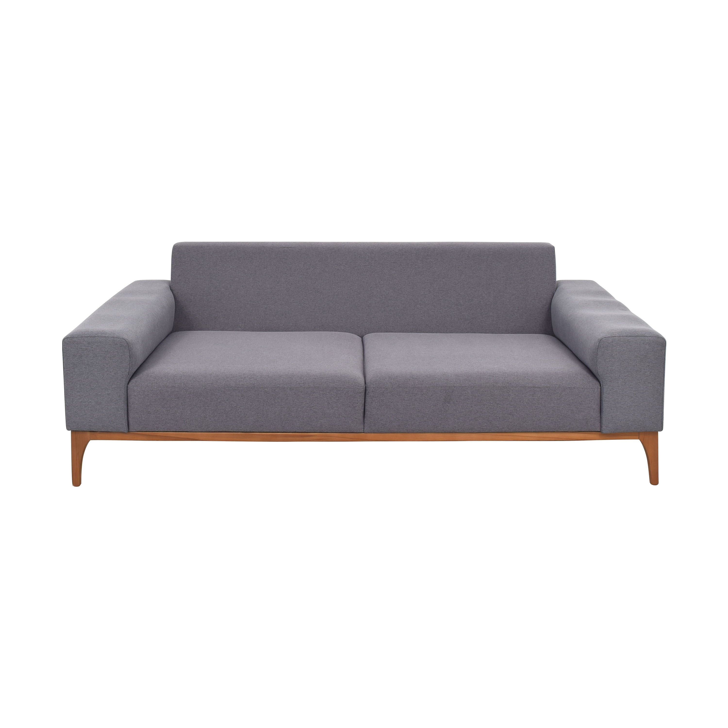 Modern Gray Sofa with Wooden Legs ma