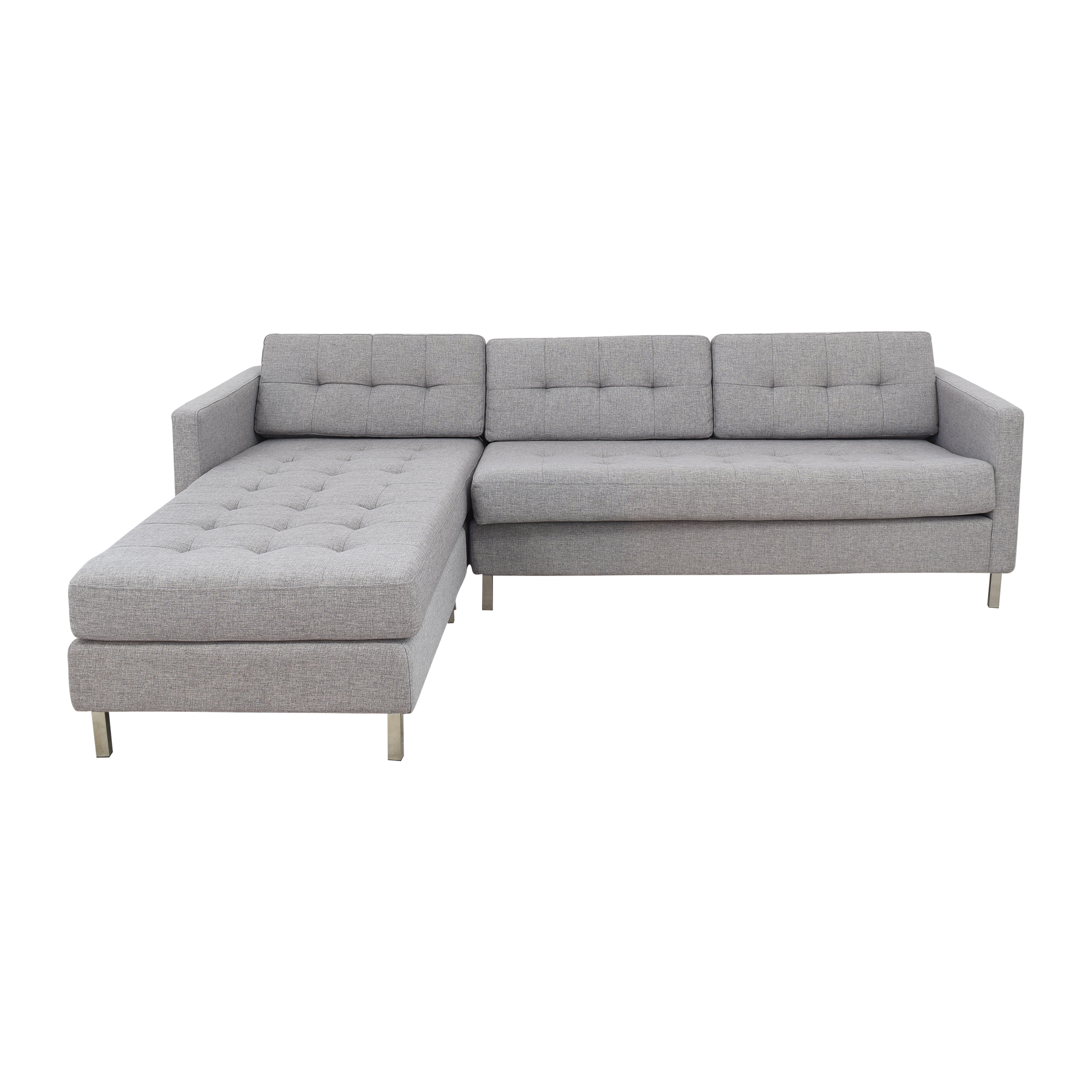CB2 CB2 Ditto II Chaise Sectional and Ottoman light grey