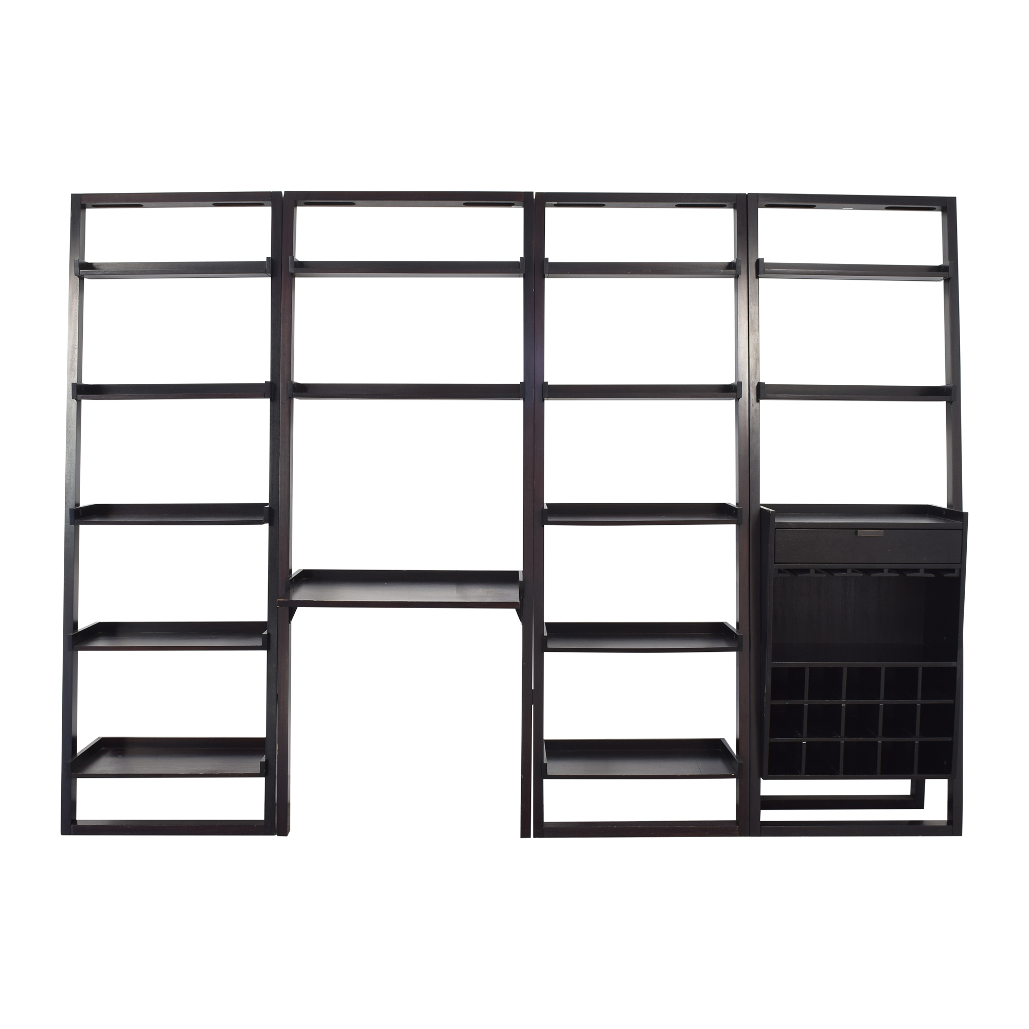 Crate & Barrel Sloane Leaning Bookshelves with Desk / Bookcases & Shelving