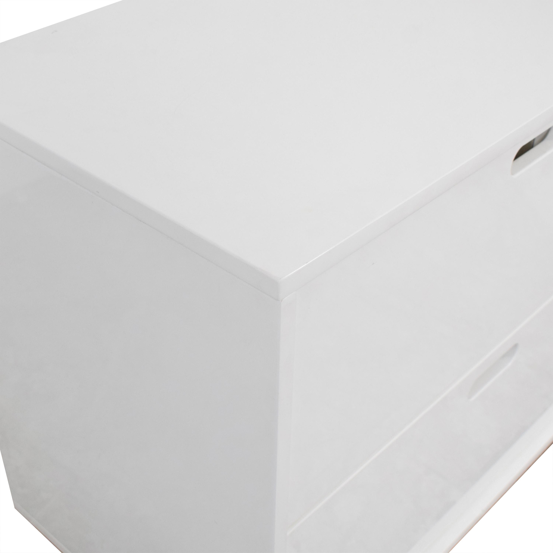 shop CB2 White Four-Drawer Low Dresser CB2 Storage
