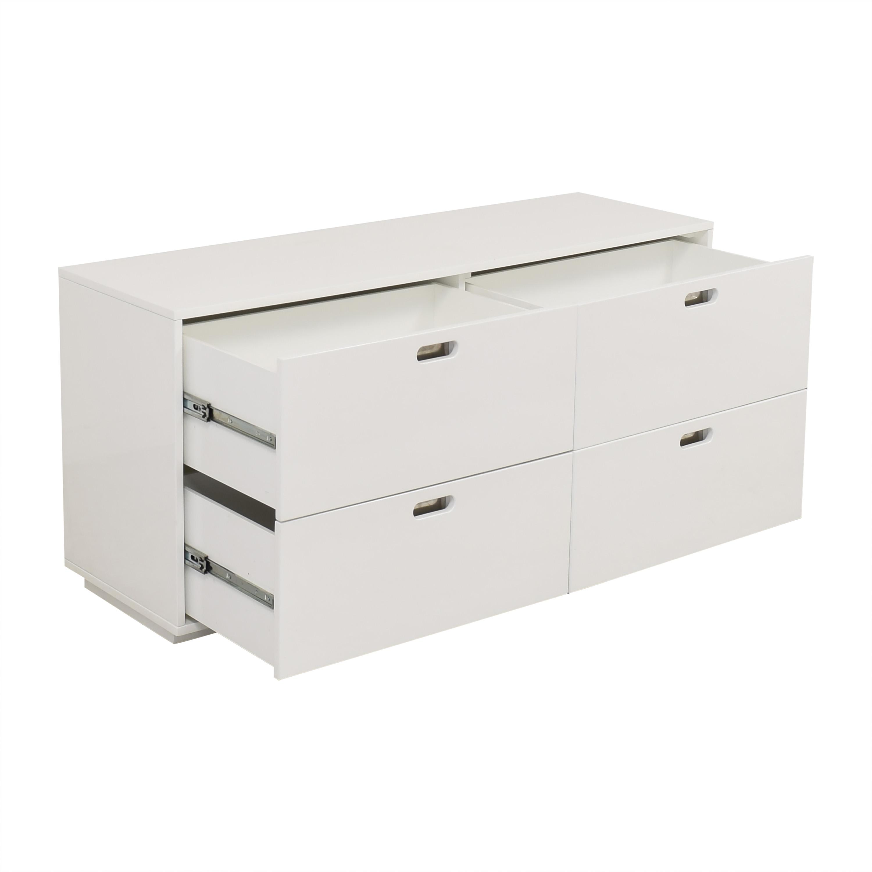 CB2 CB2 White Four-Drawer Low Dresser nj