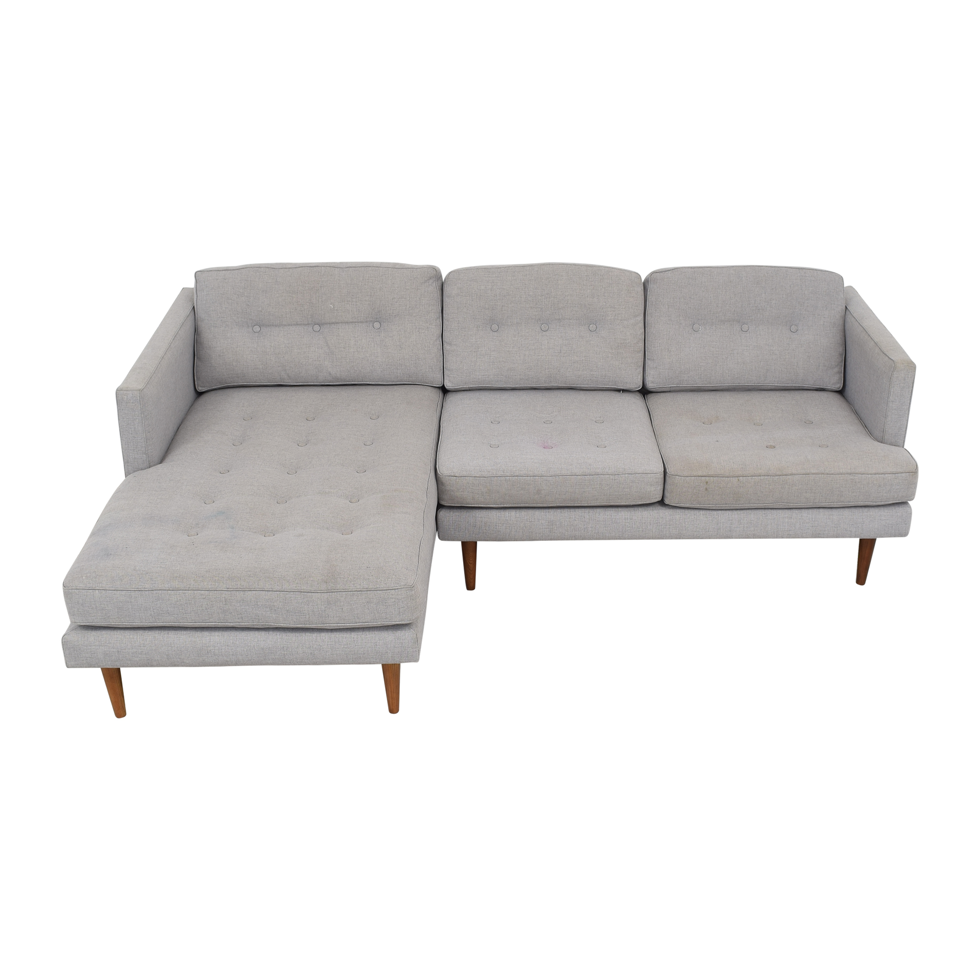 West Elm West Elm Peggy Mid-Century Chaise Sectional Sofa for sale