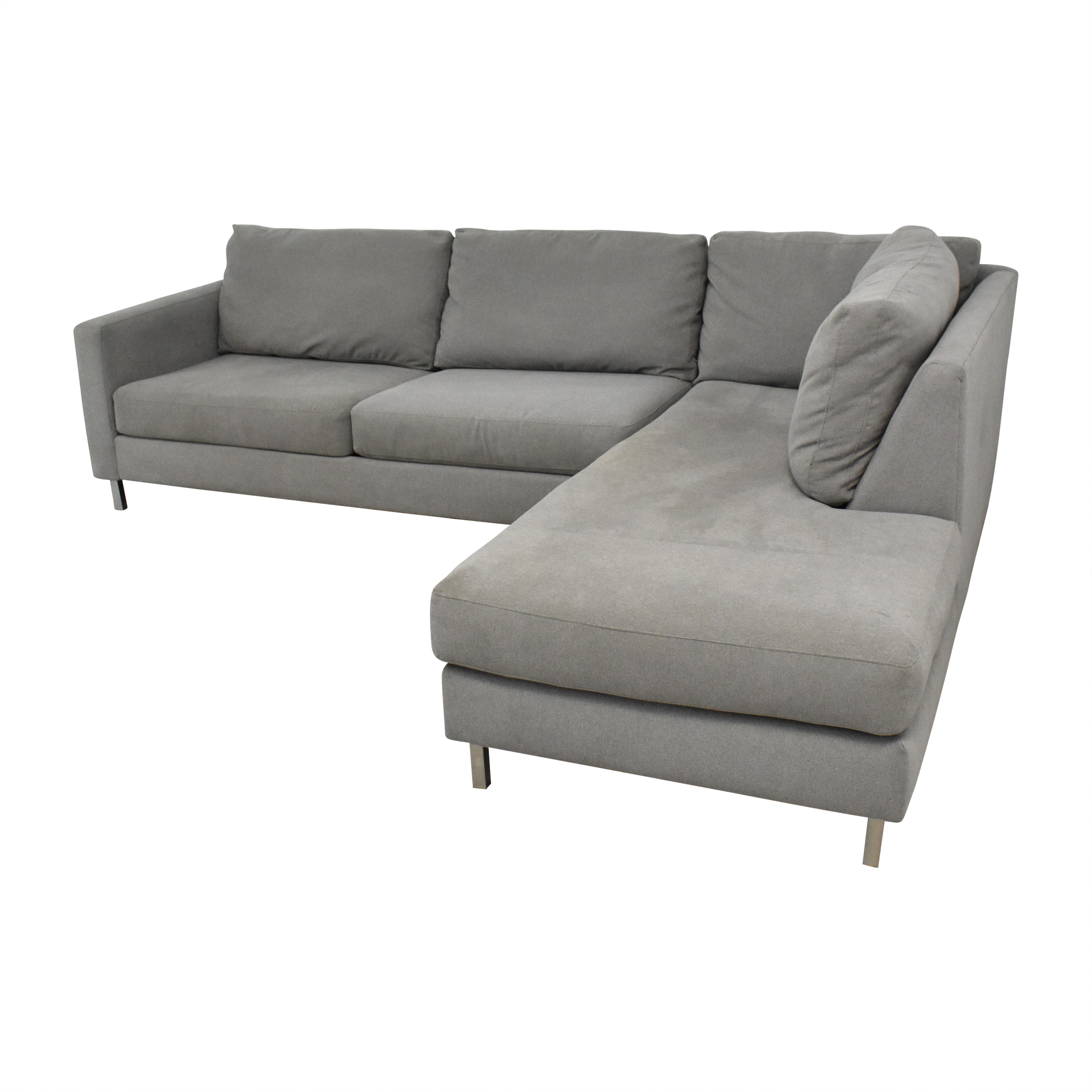 buy Raymour & Flanigan Modern Grey Sectional Couch Raymour & Flanigan