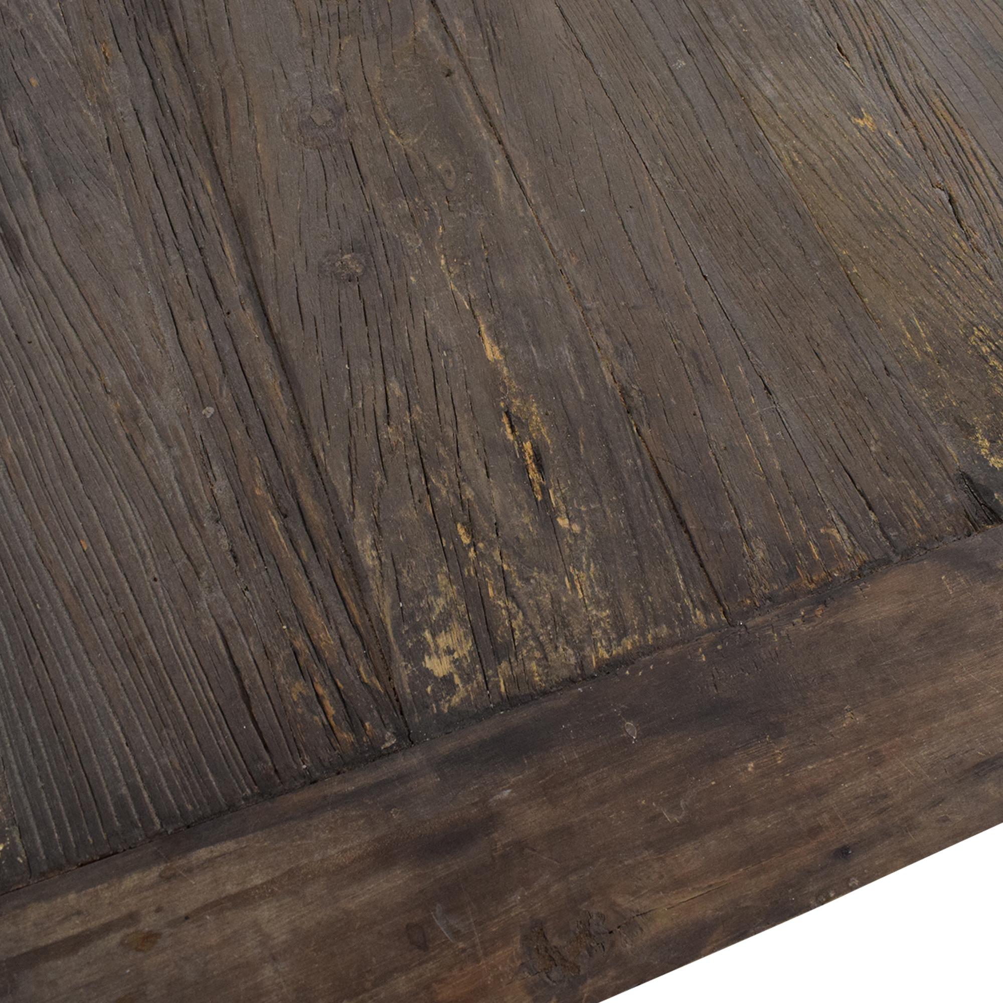 Restoration Hardware Restoration Hardware Flatiron Desk Reclaimed Natural Elm Zinc Metal for sale