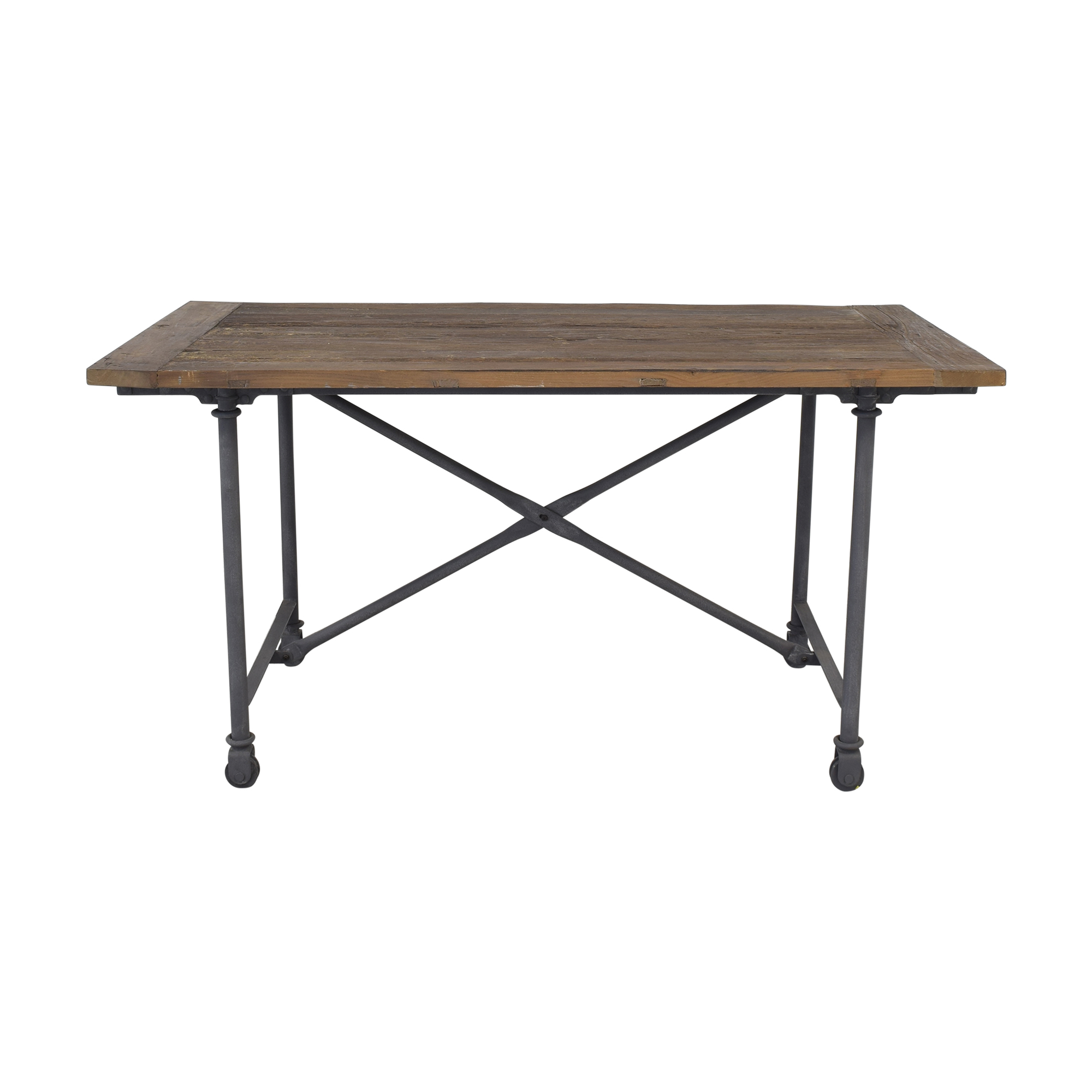 Restoration Hardware Restoration Hardware Flatiron Desk Reclaimed Natural Elm Zinc Metal price