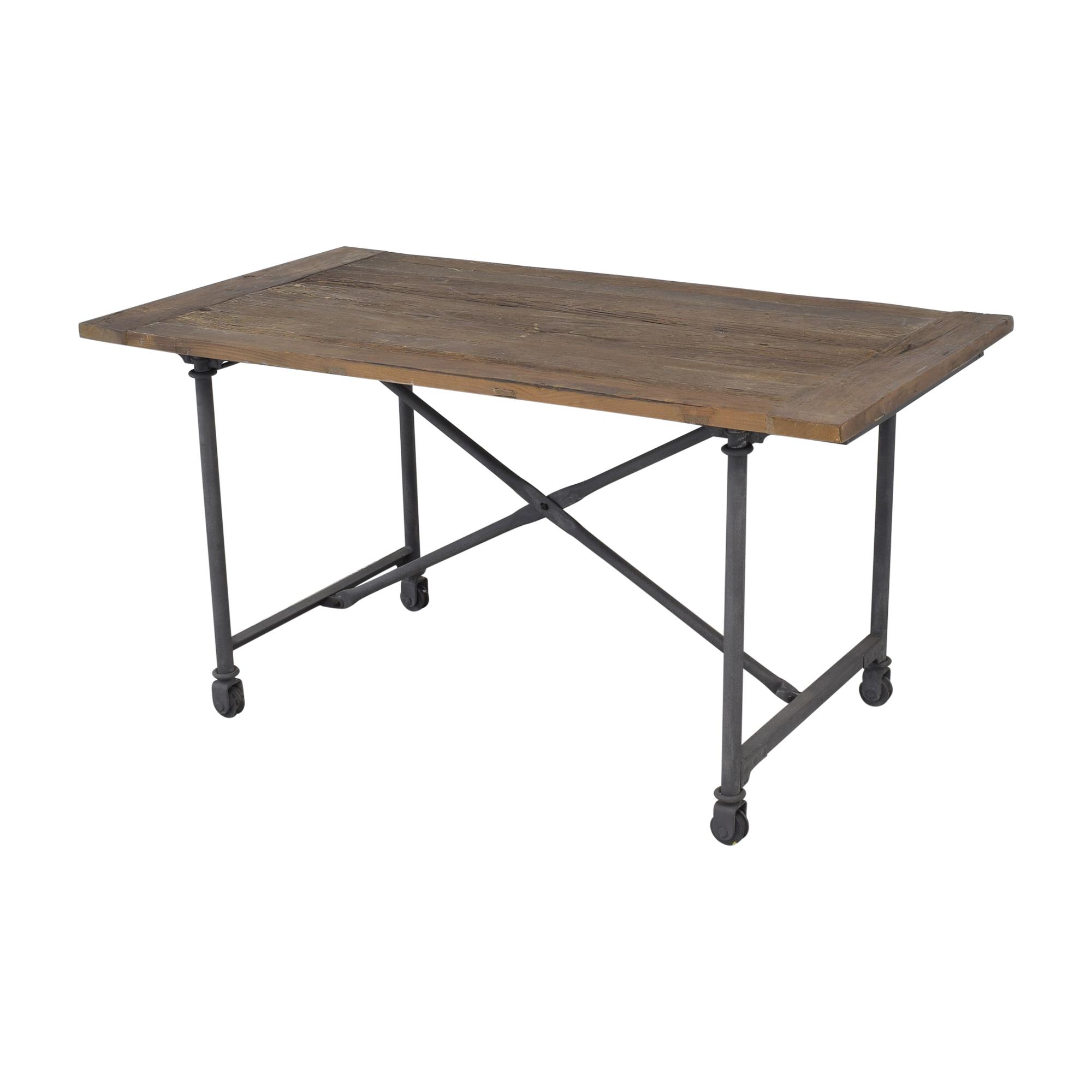 Restoration Hardware Restoration Hardware Flatiron Desk Reclaimed Natural Elm Zinc Metal on sale
