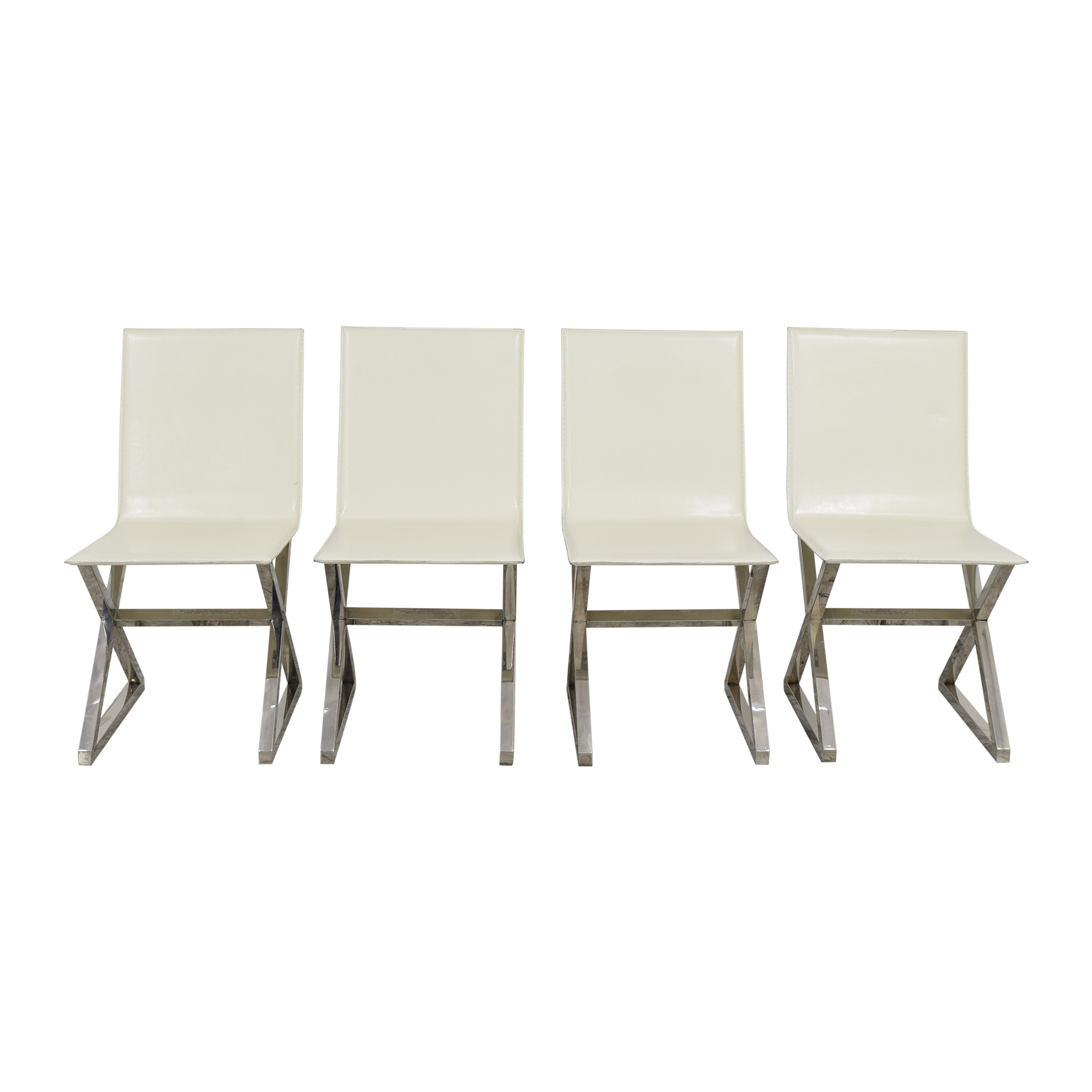 Z Gallerie Z Gallerie Axis Dining Chairs off white & silver