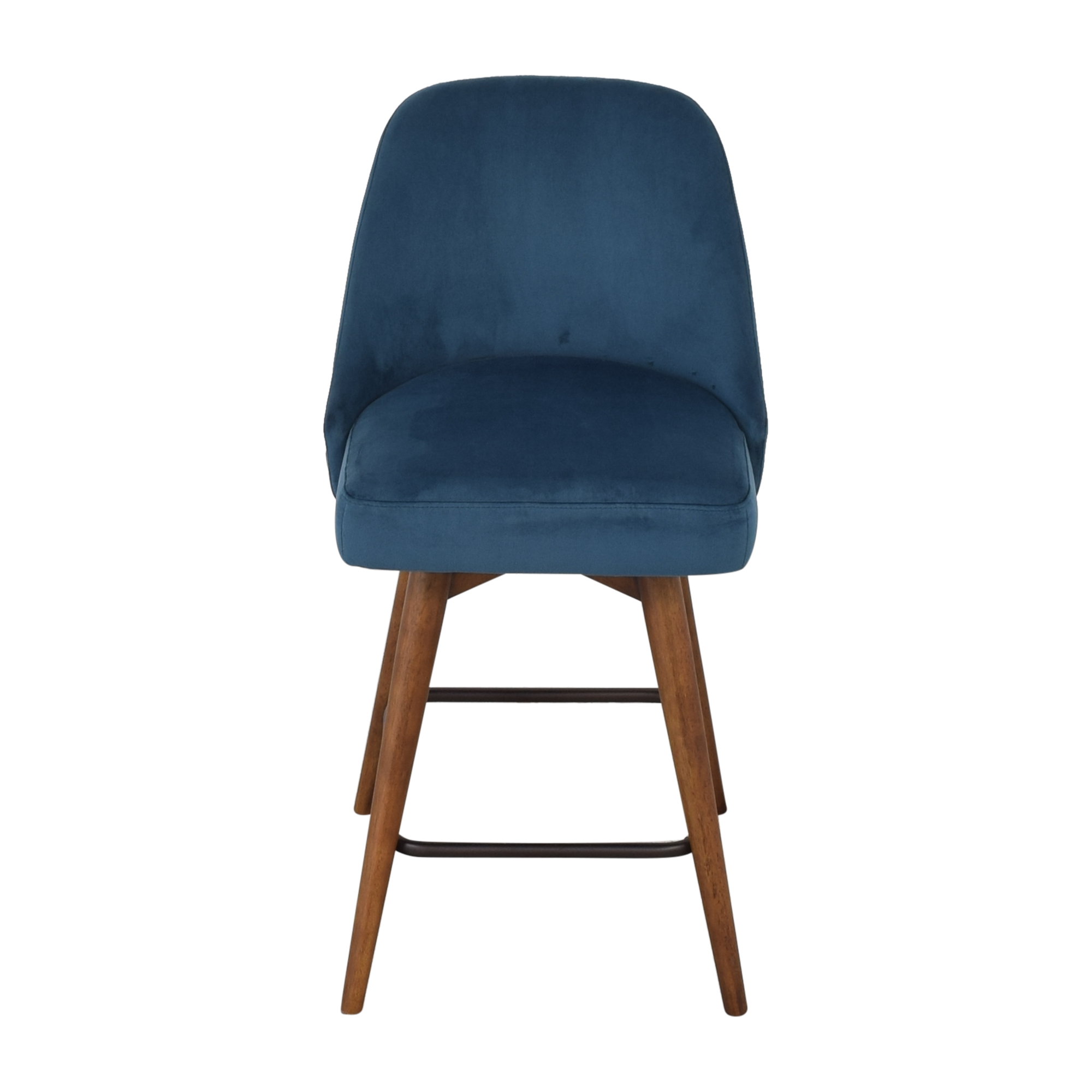 West Elm West Elm Mid-Century Upholstered Swivel Counter Stool blue