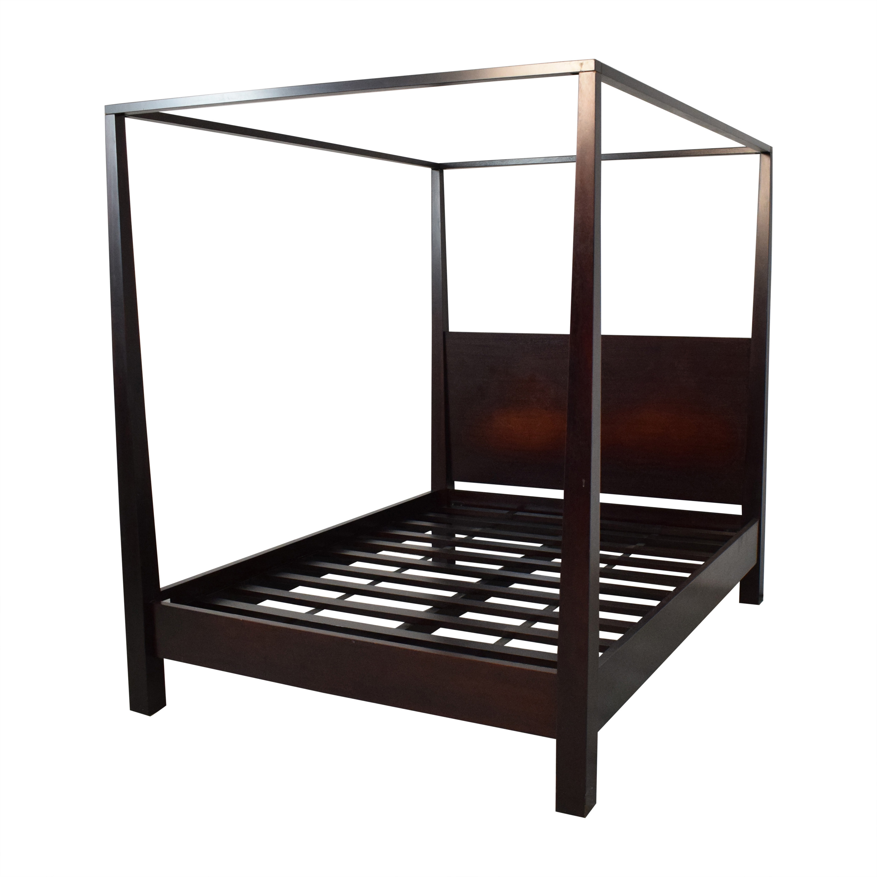 Crate & Barrel Crate & Barrel Brown Farmhouse Style Canopy Queen Bed ct