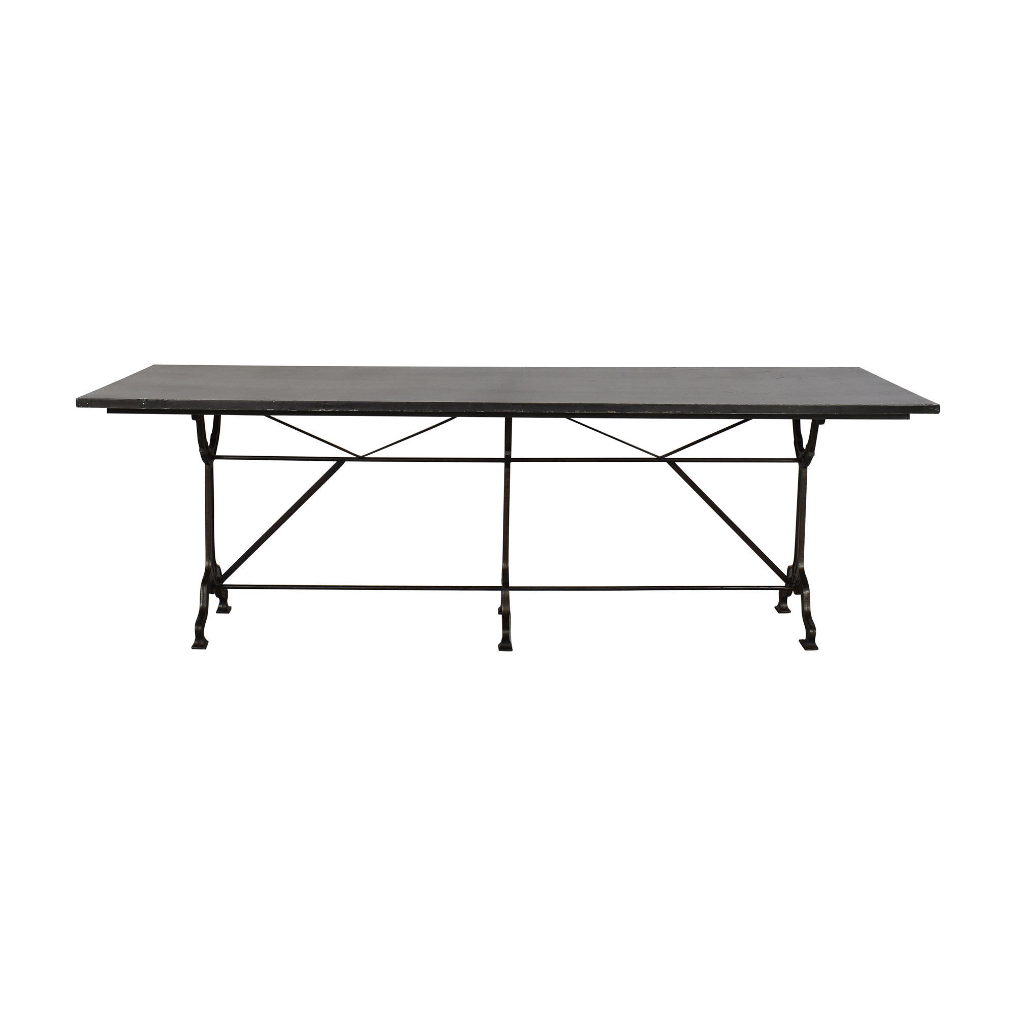 Restoration Hardware Zinc and Cast Iron Rectangular Dining Table / Dinner Tables