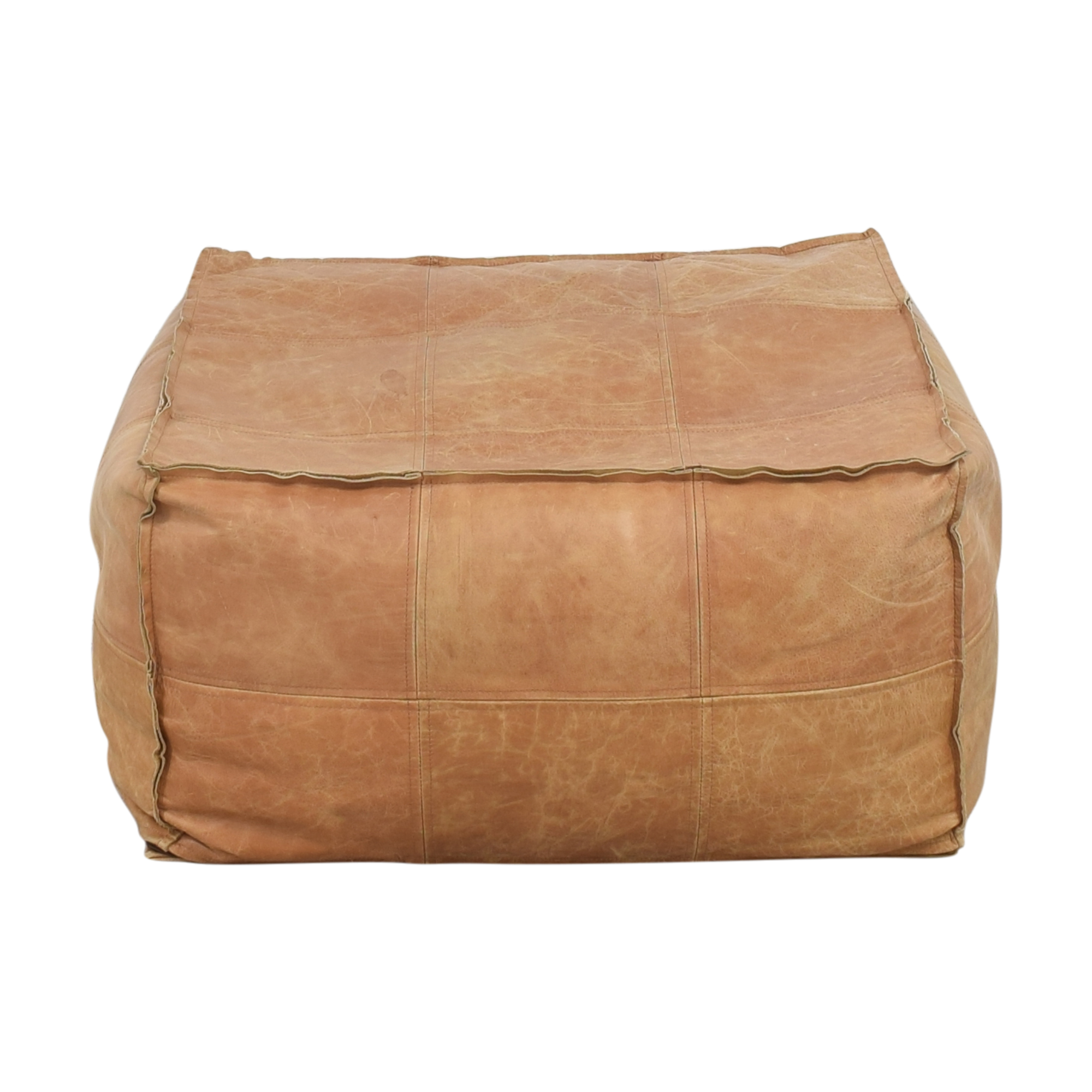 shop CB2 Medium Square Leather Ottoman Pouf CB2 Ottomans