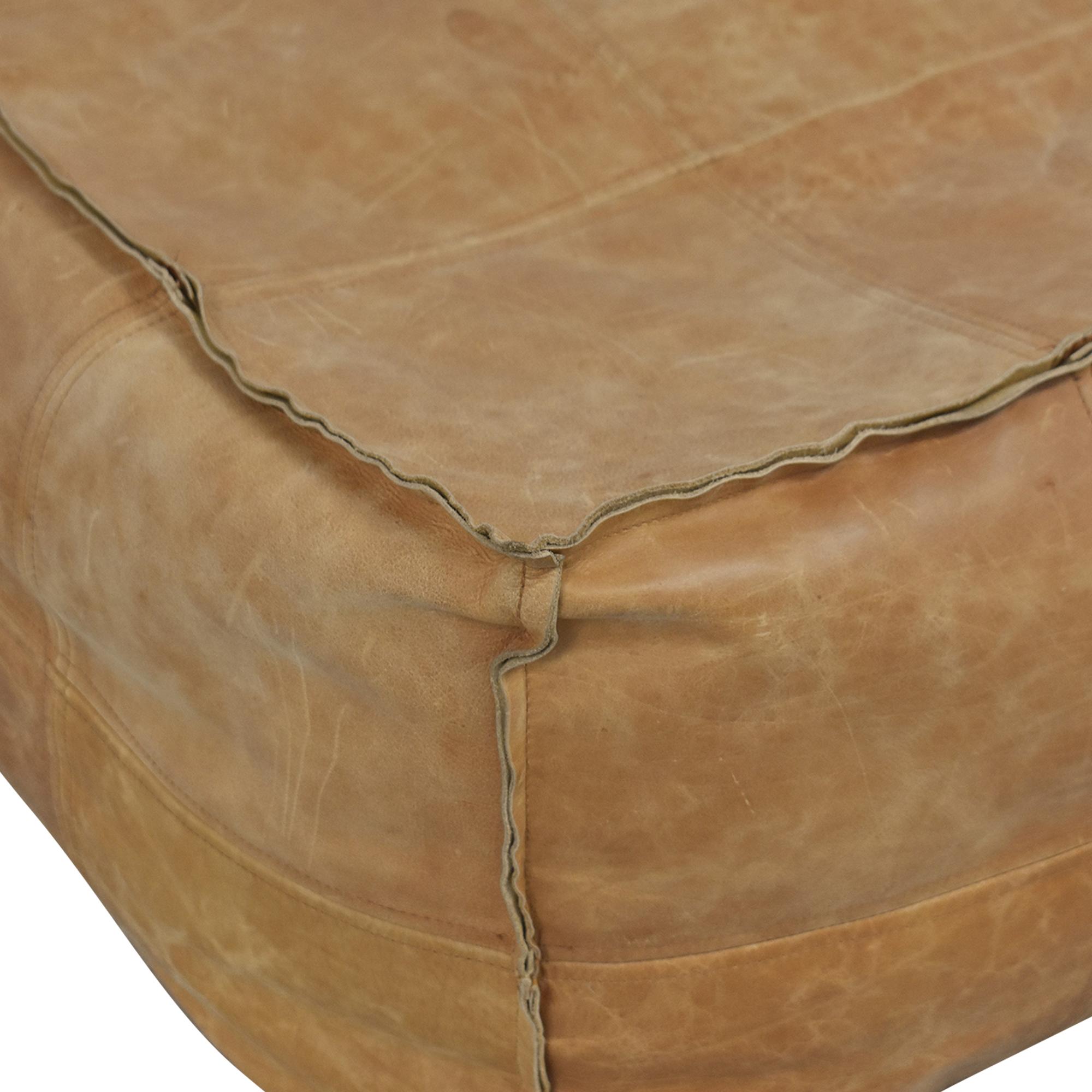 shop CB2 Medium Square Leather Ottoman Pouf CB2 Ottomans