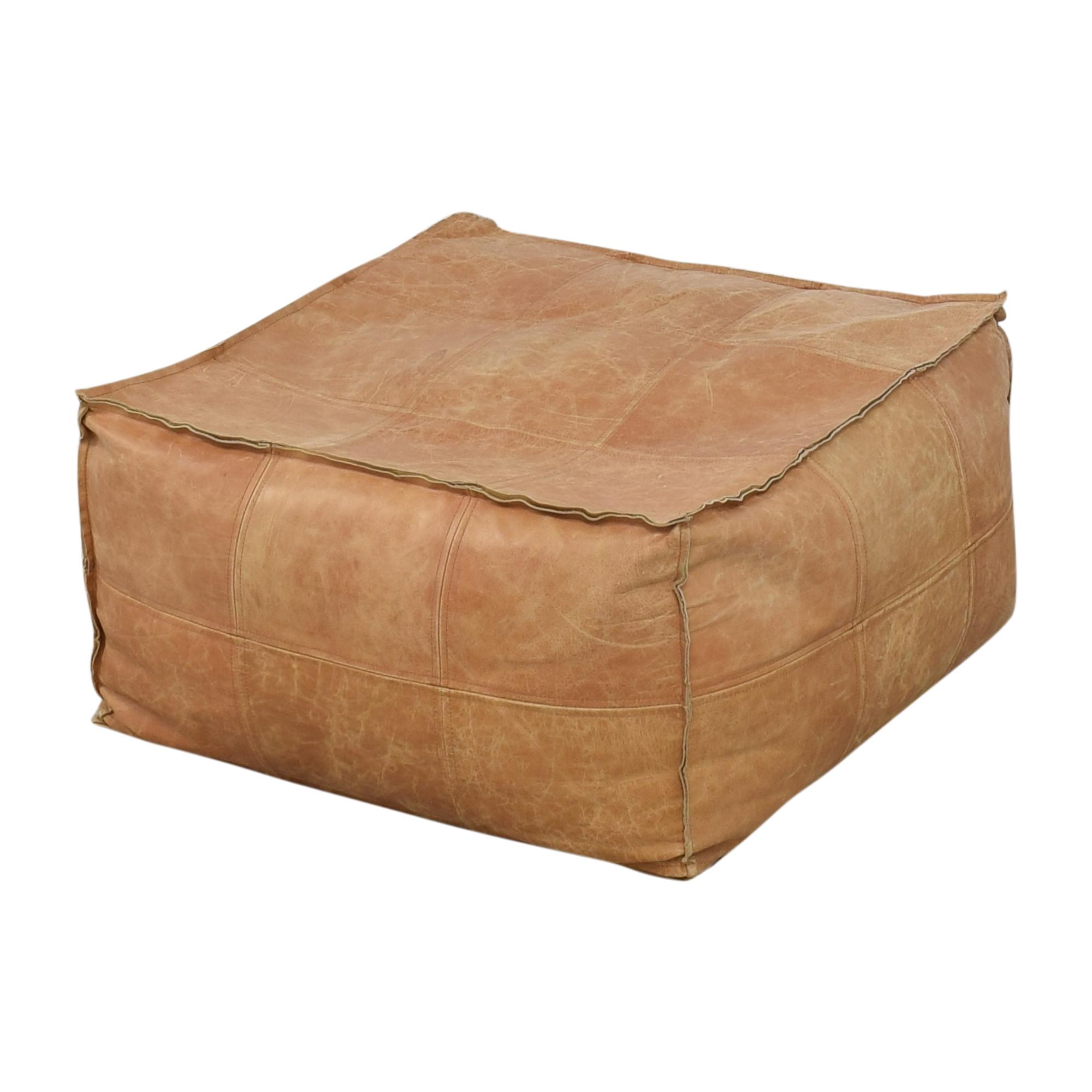 buy CB2 Medium Square Leather Ottoman Pouf CB2