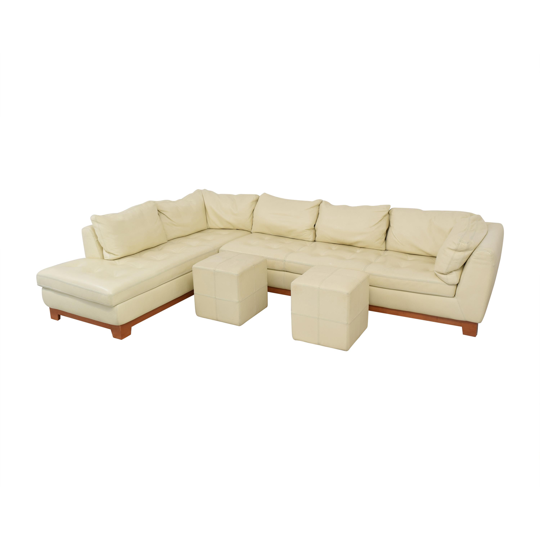 Roche Bobois Roche Bobois Chaise Sectional Sofa with Ottomans on sale