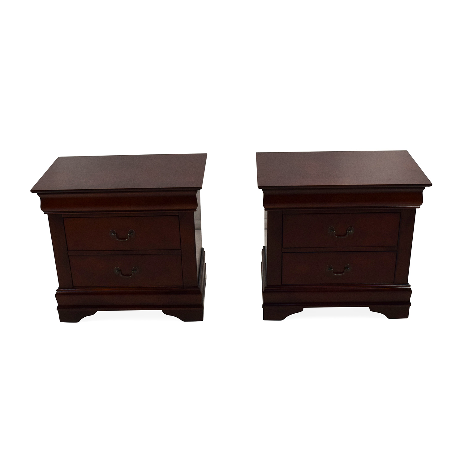 Set of 2 Wooden Nightstands with Drawers