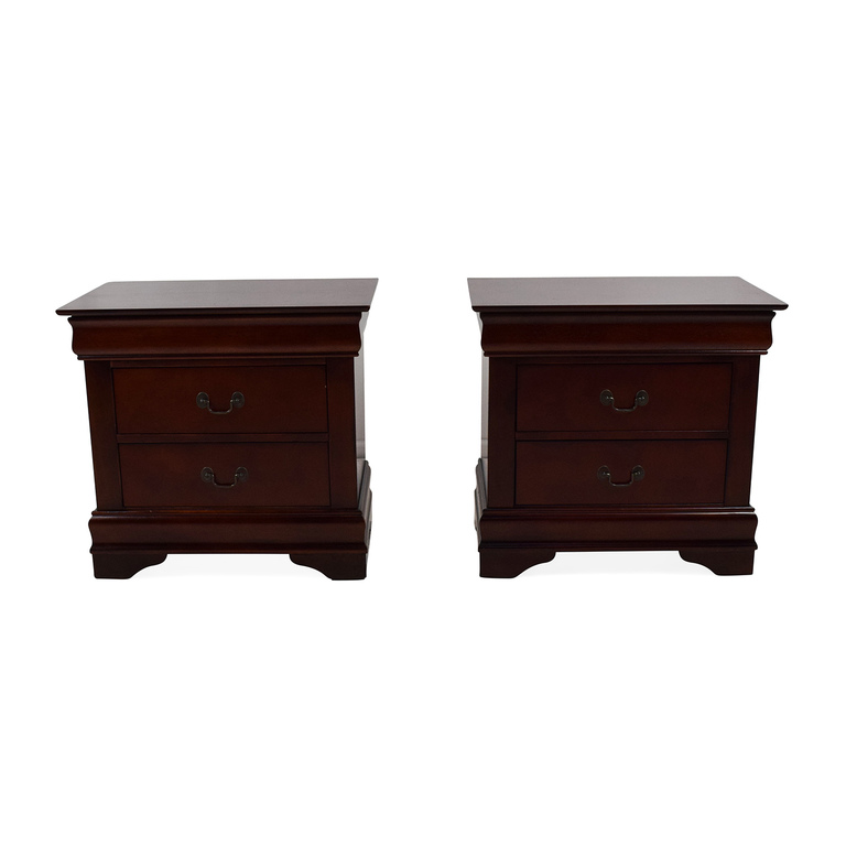 Set of 2 Wooden Nightstands with Drawers discount