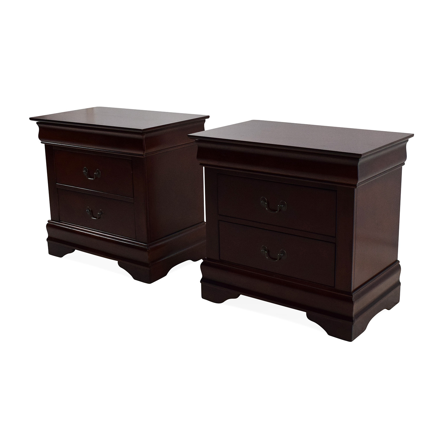 62 off set of 2 wooden nightstands with drawers tables for Wood nightstand with drawers