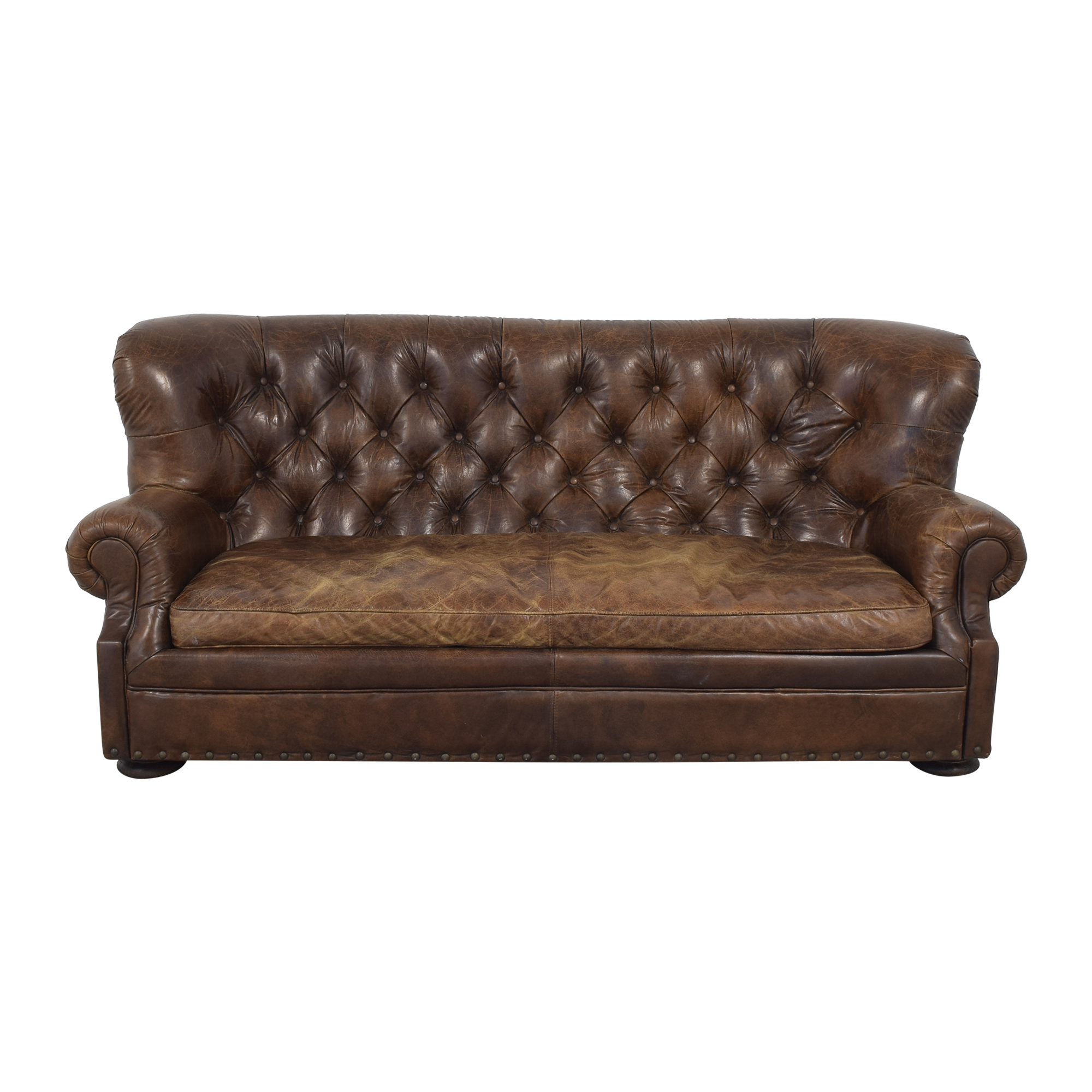 Restoration Hardware Restoration Hardware Churchill Leather Sofa pa