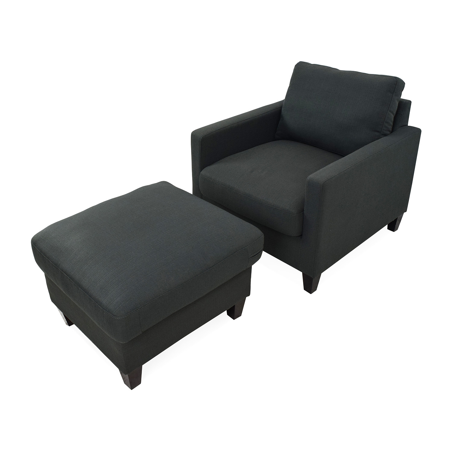 ... Dark Charcoal Blue Chair With Ottoman Used ...