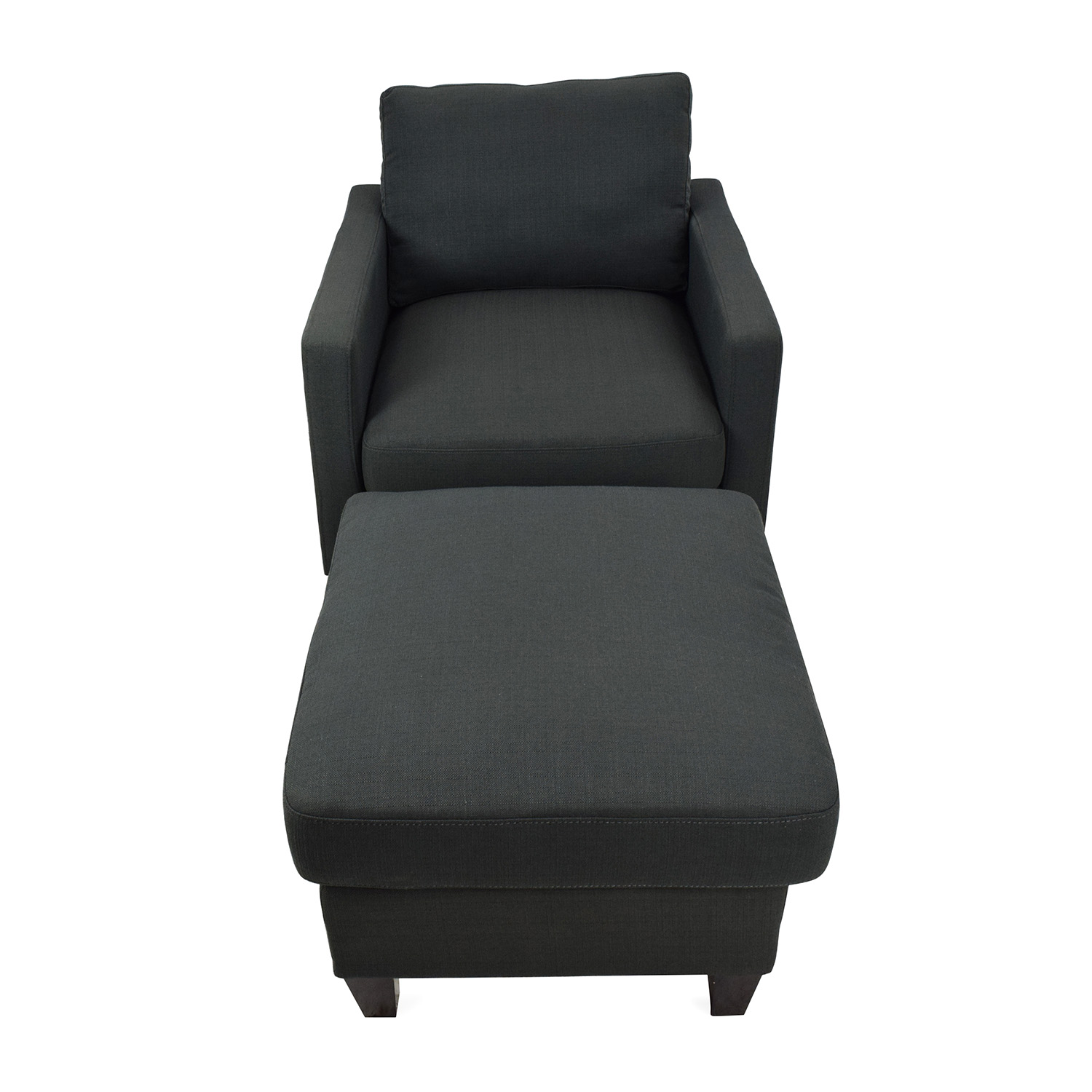 buy Dark Charcoal Blue Chair with Ottoman Accent Chairs