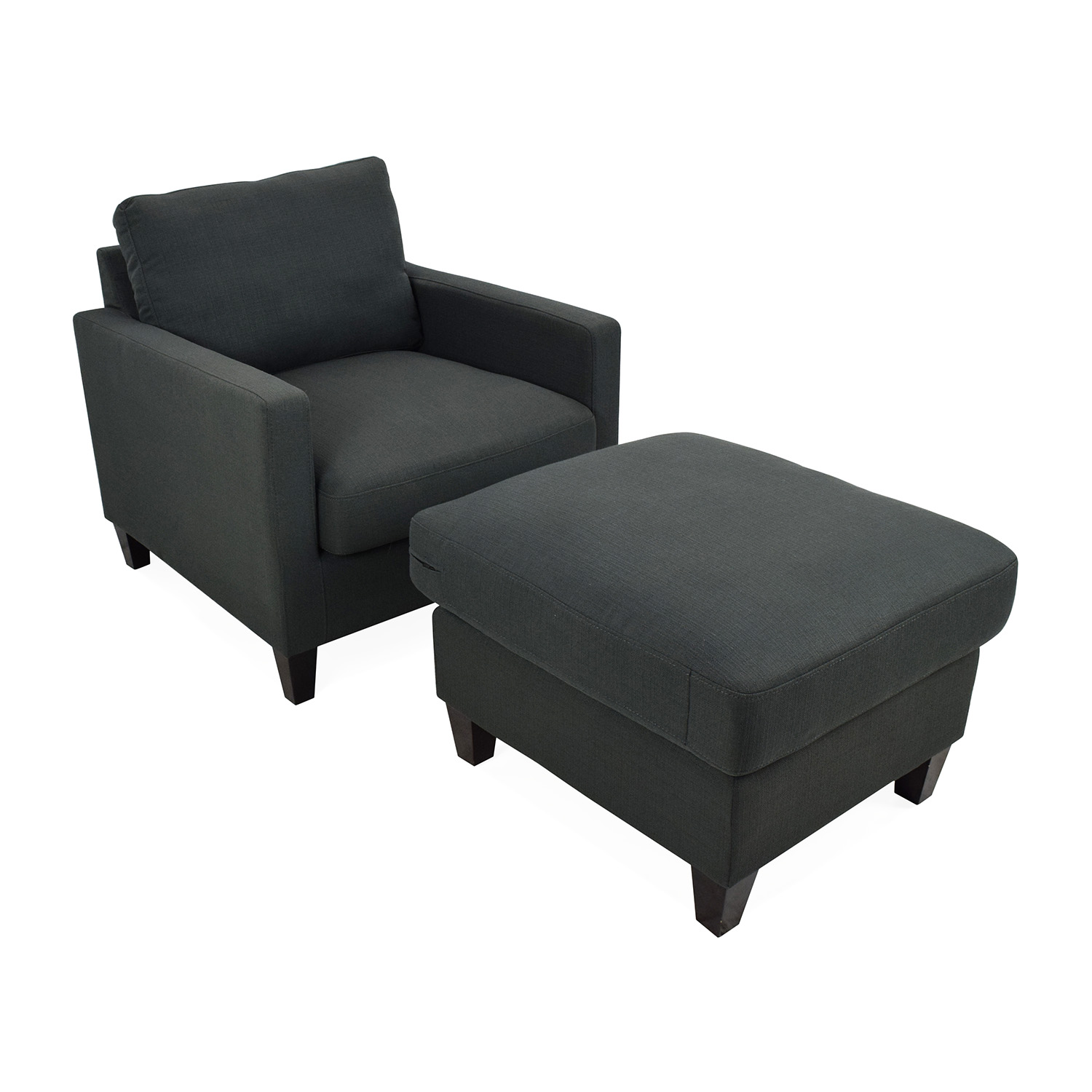 81 Off Dark Charcoal Blue Chair With Ottoman Chairs
