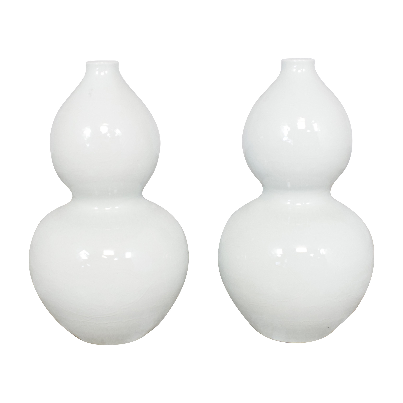 Tozai Home Blanc de Chine Embossed Gourd Vase Tozai Home