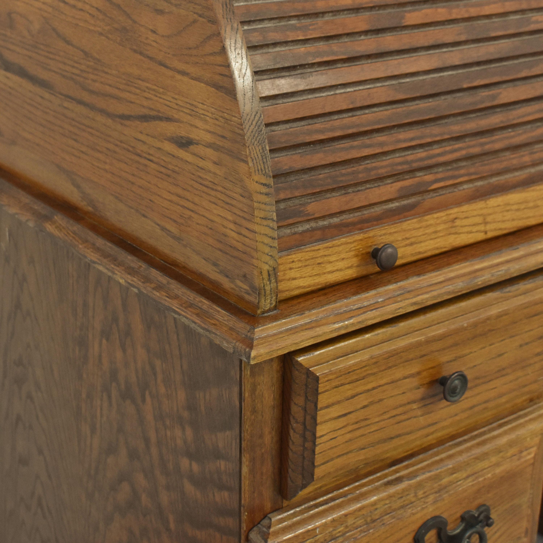 Vintage Roll-Top Wooden Desk