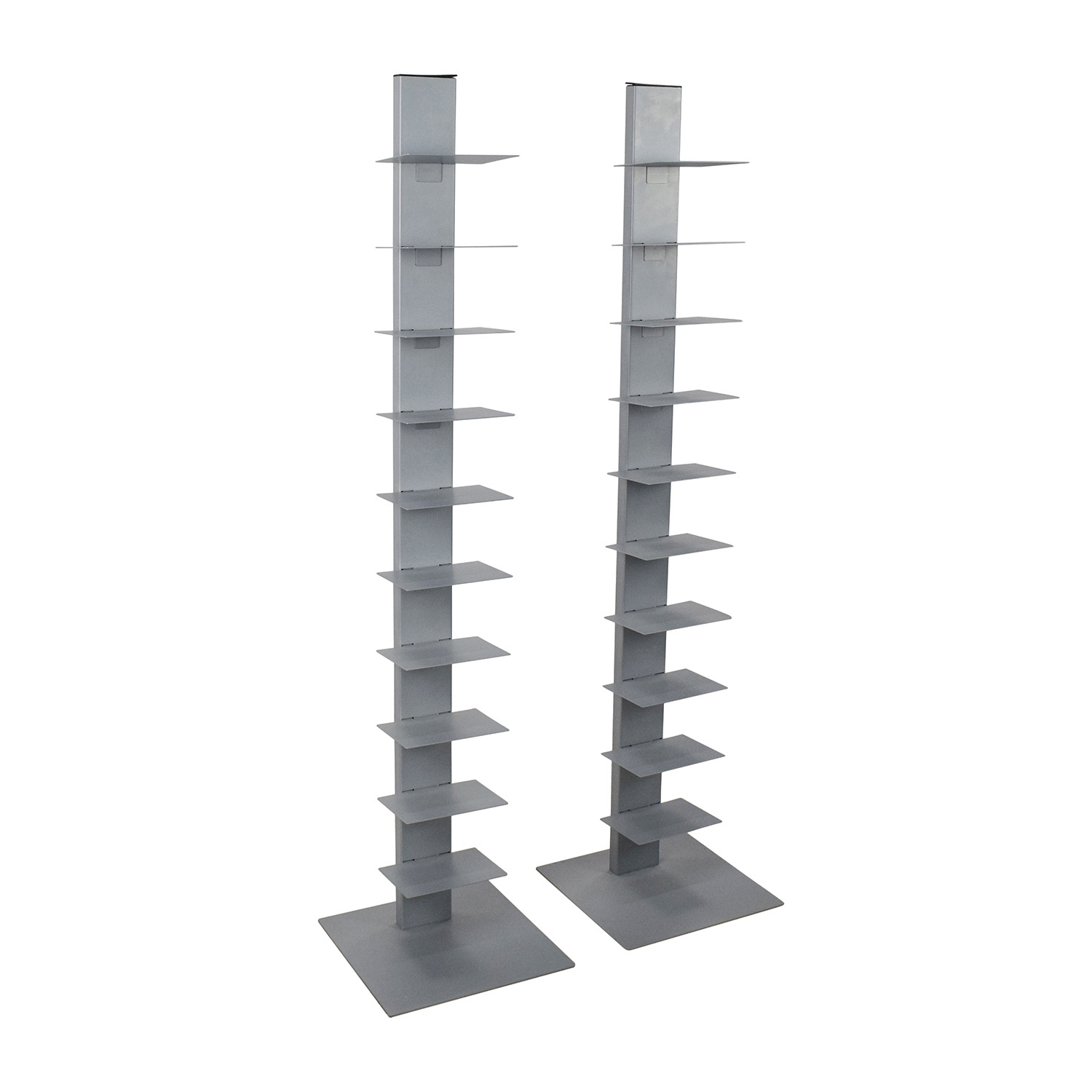 Cb2 Array Silver Bookcase Pair Bookcases Shelving