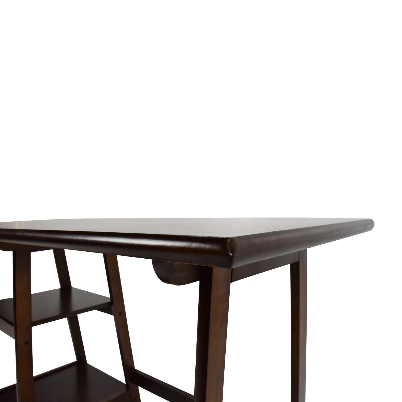 ... Dark Brown Wood Home Office Desk Brown