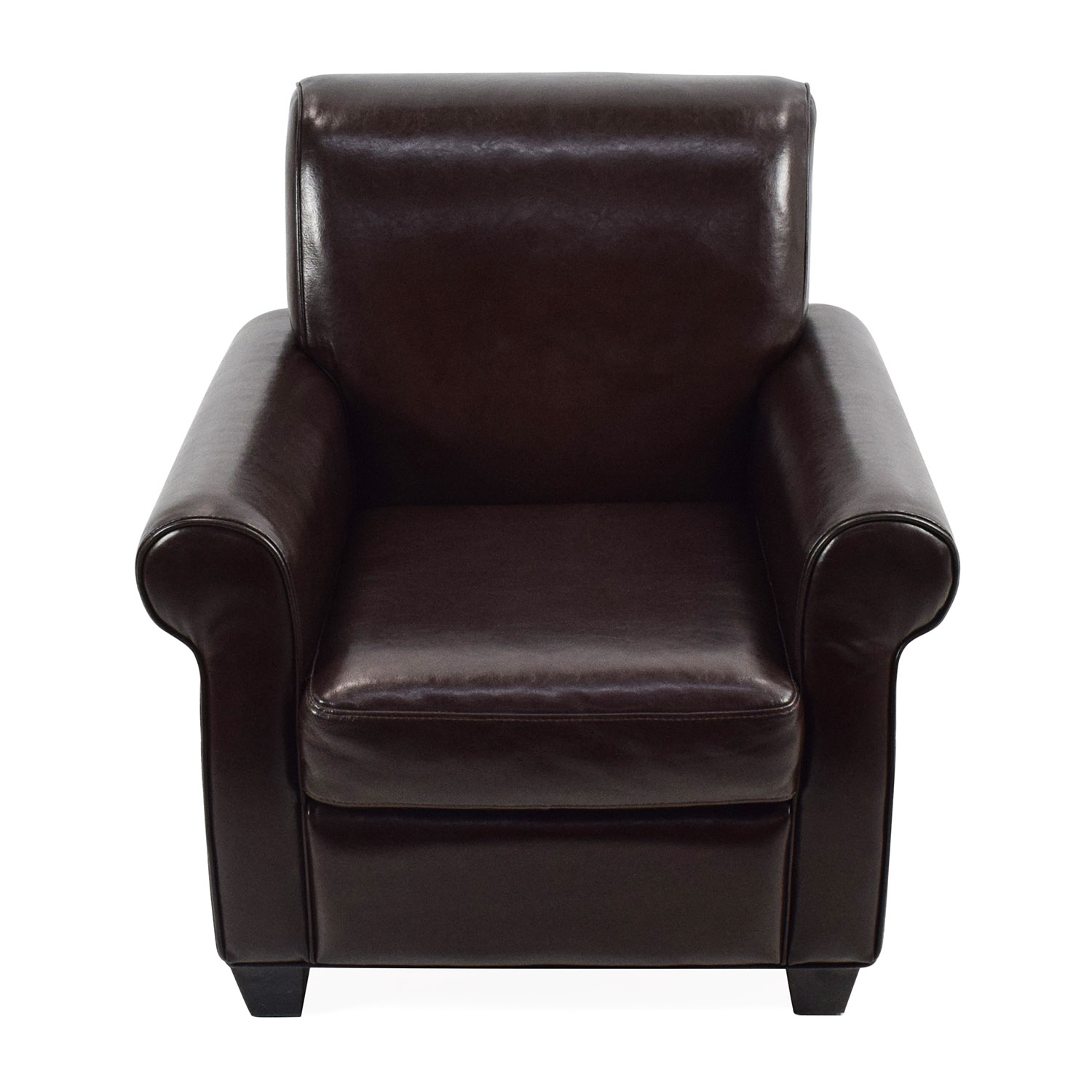 65 off door store door store dark brown leather for Armchair furniture