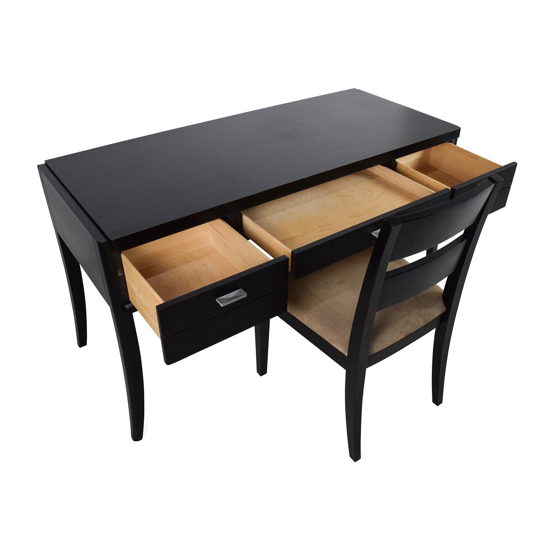 78% OFF Crate & Barrel Crate & Barrel Black Wood Desk and Chair