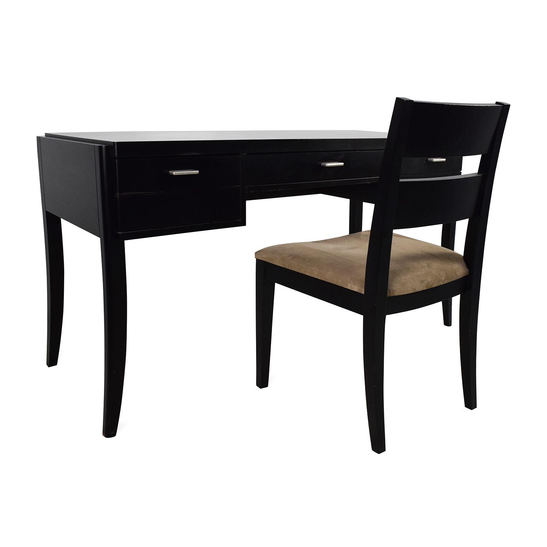 78% OFF - Crate & Barrel Crate & Barrel Black Wood Desk and Chair