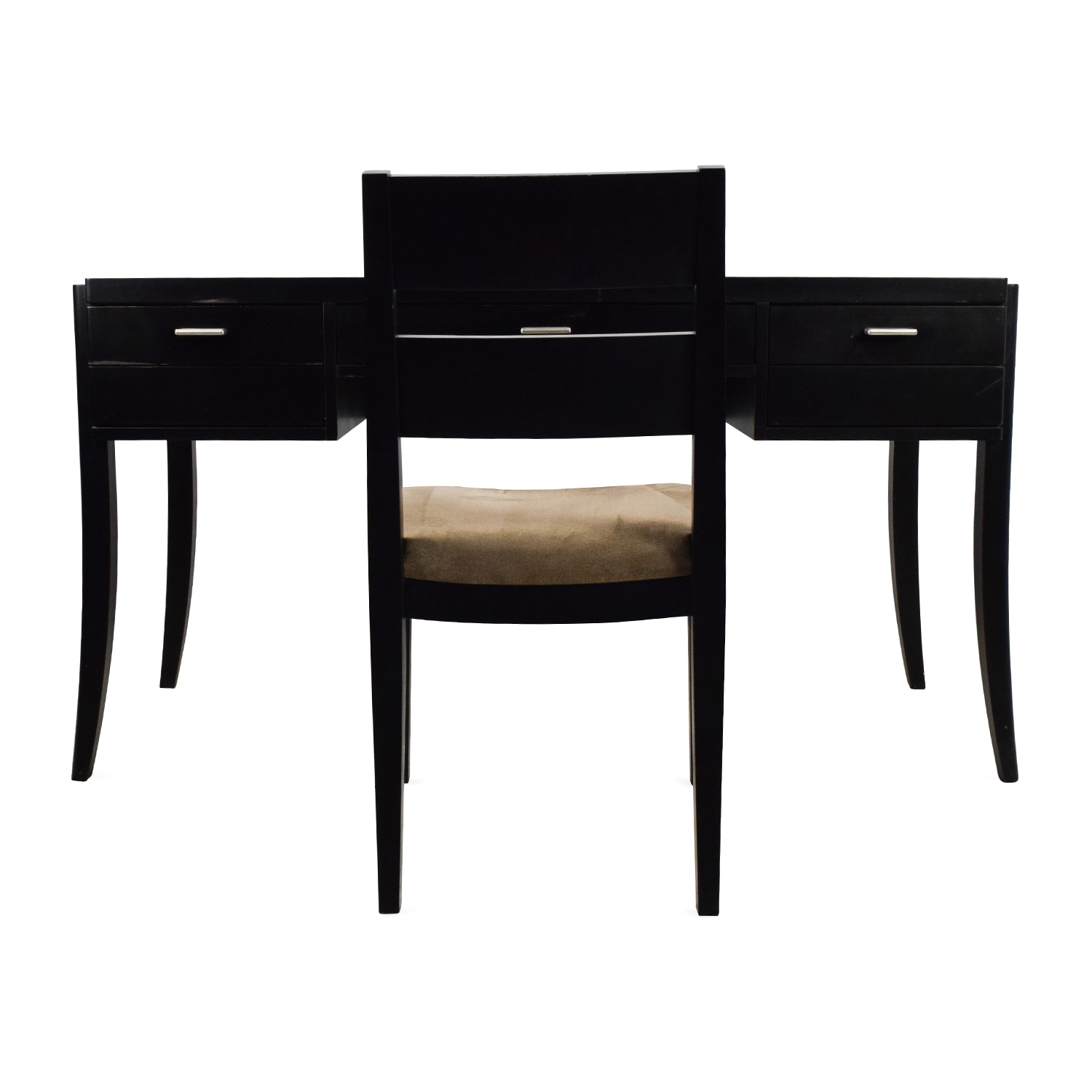 Crate & Barrel Crate & Barrel Black Wood Desk and Chair nj