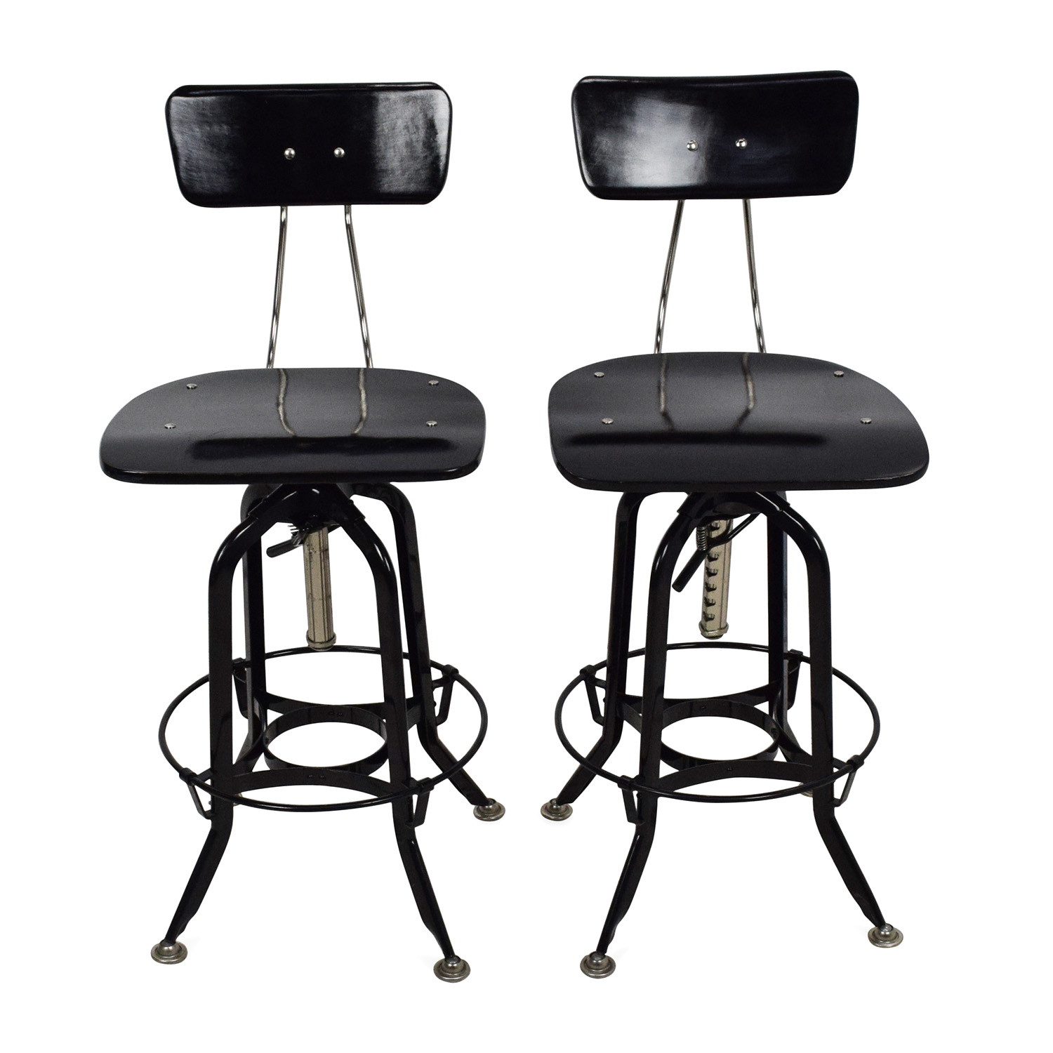 71 Off Restoration Hardware Vintage Toledo Bar Chair Pair Chairs