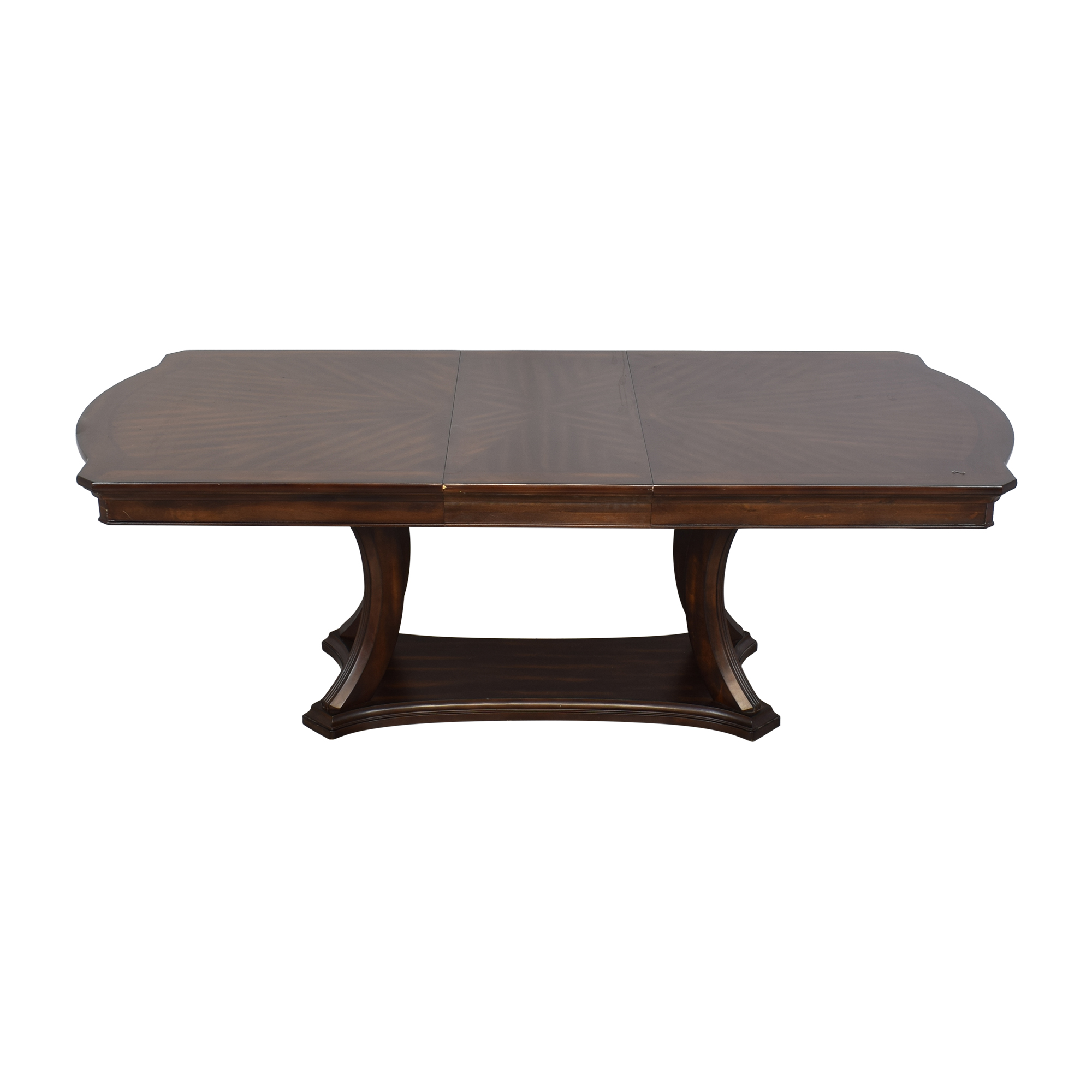 Pedestal Base Extendable Dining Table dark brown