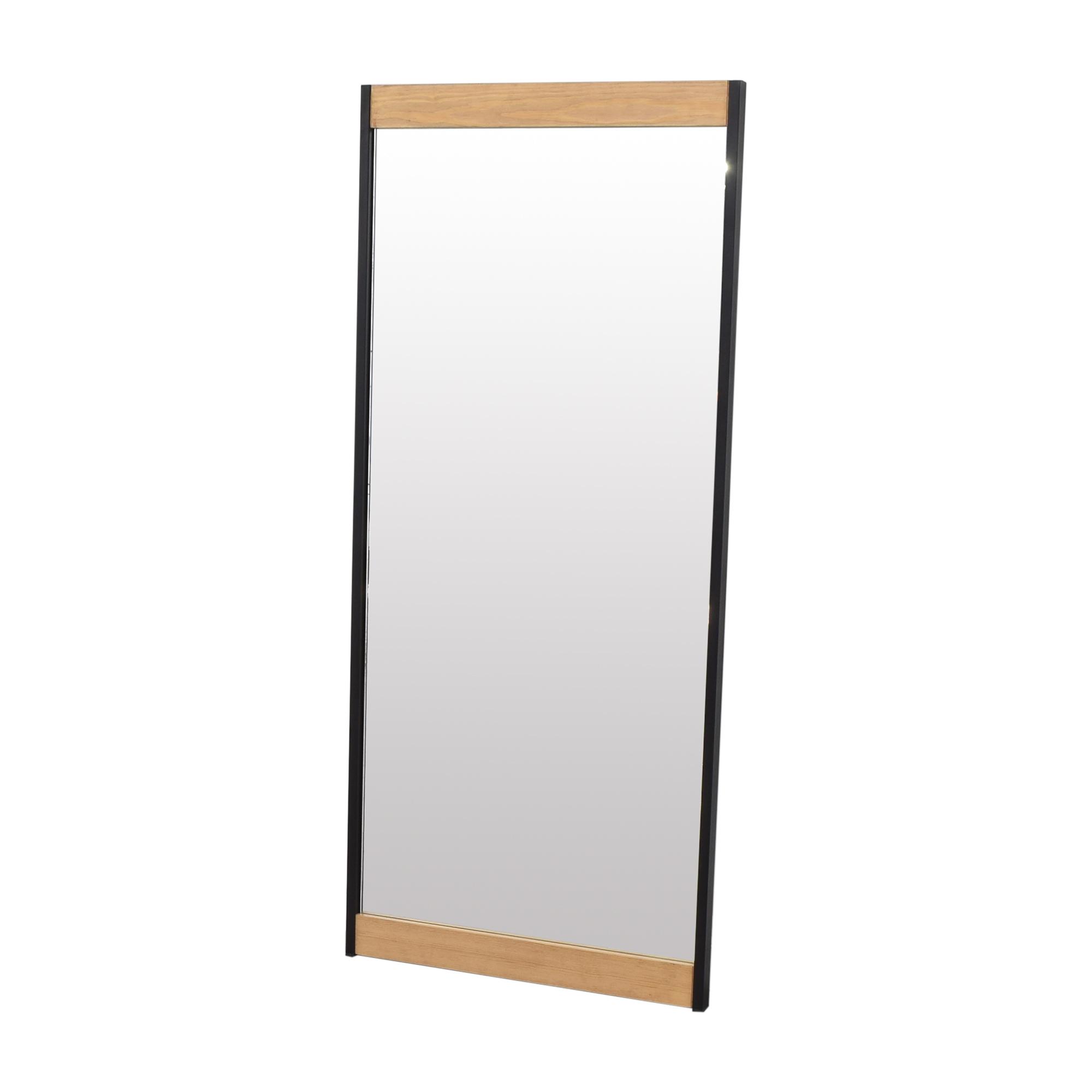 Wood Accented Floor Mirror brown & black