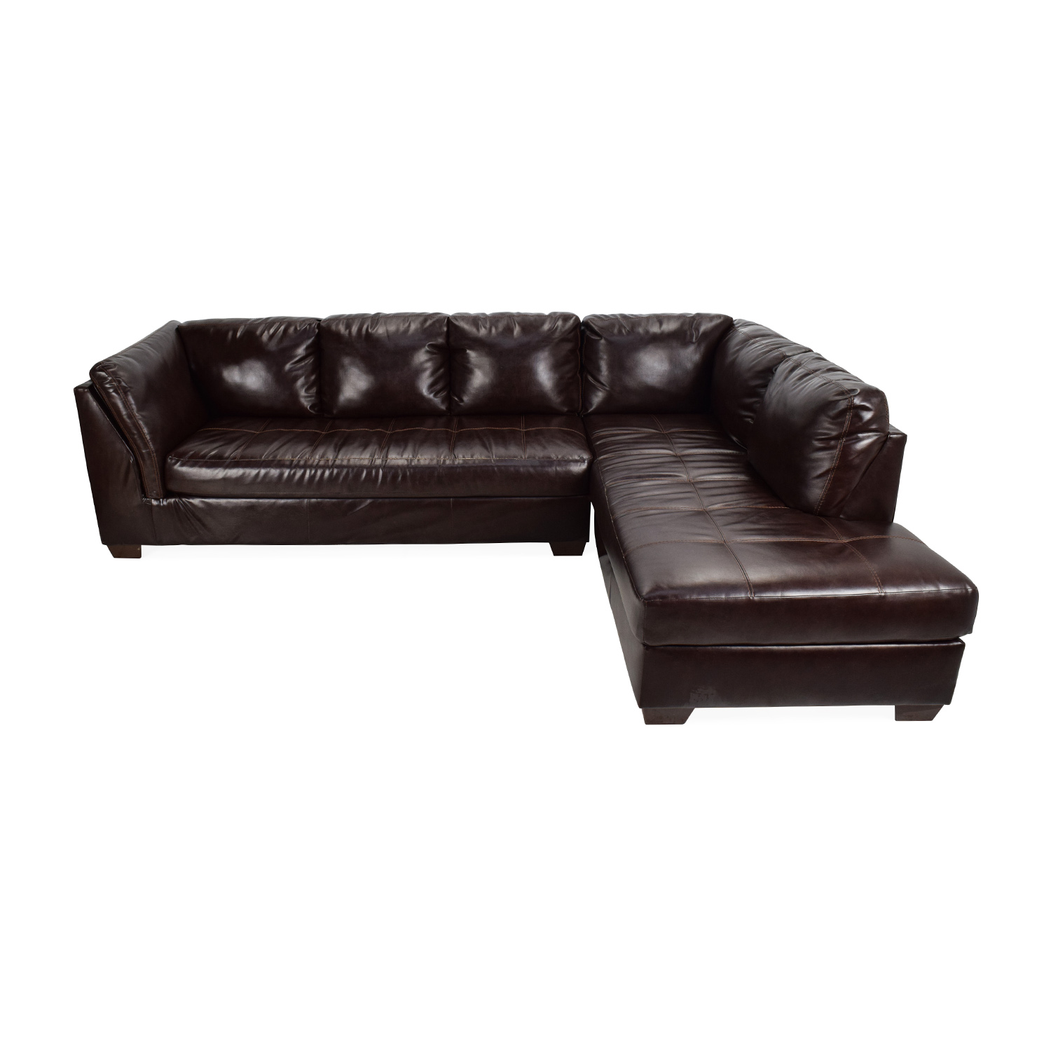 shop Jennifer Convertibles Jennifer Convertibles Brown Leather Sectional online