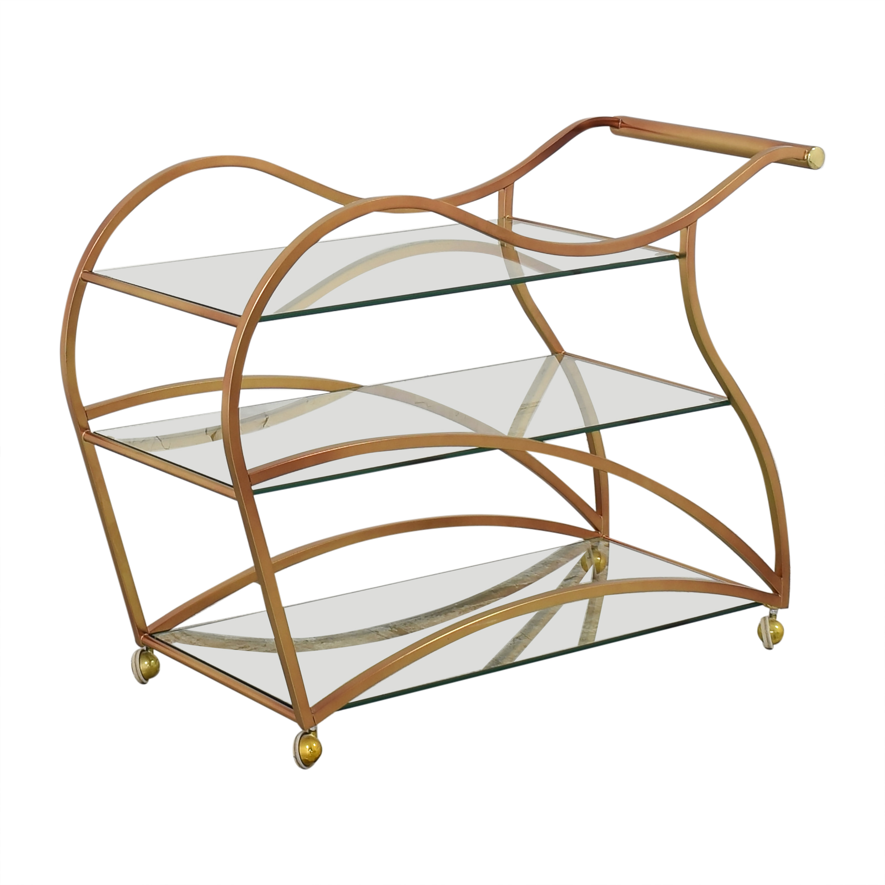 Wavy Brass Bar Cart nyc