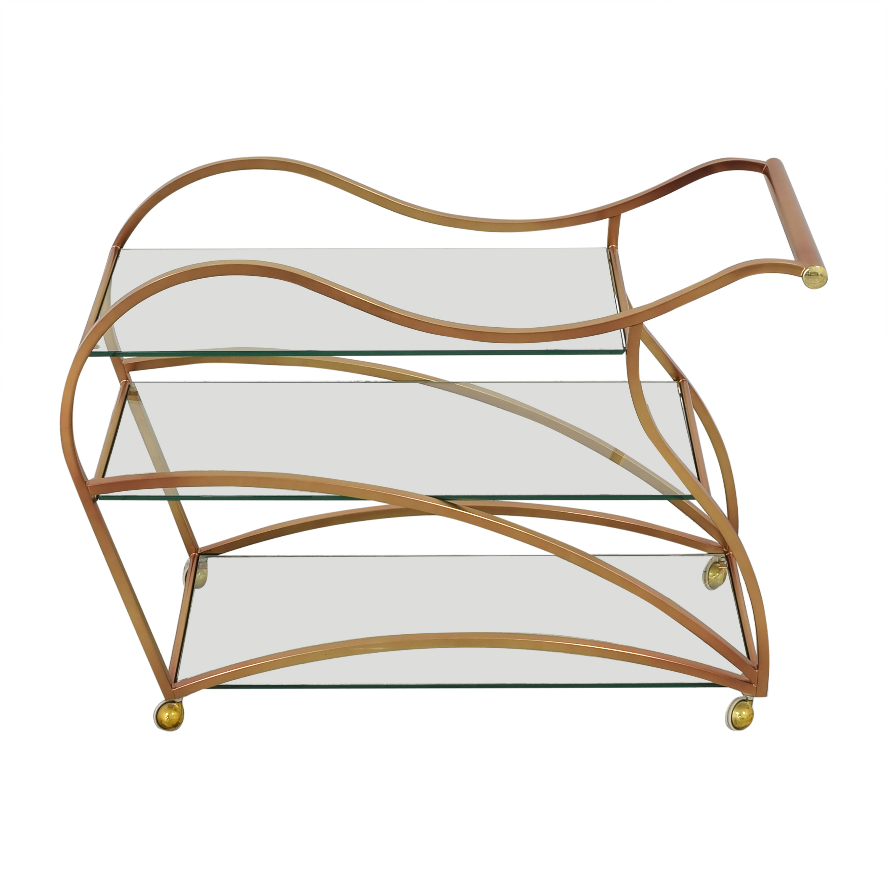 Wavy Brass Bar Cart dimensions