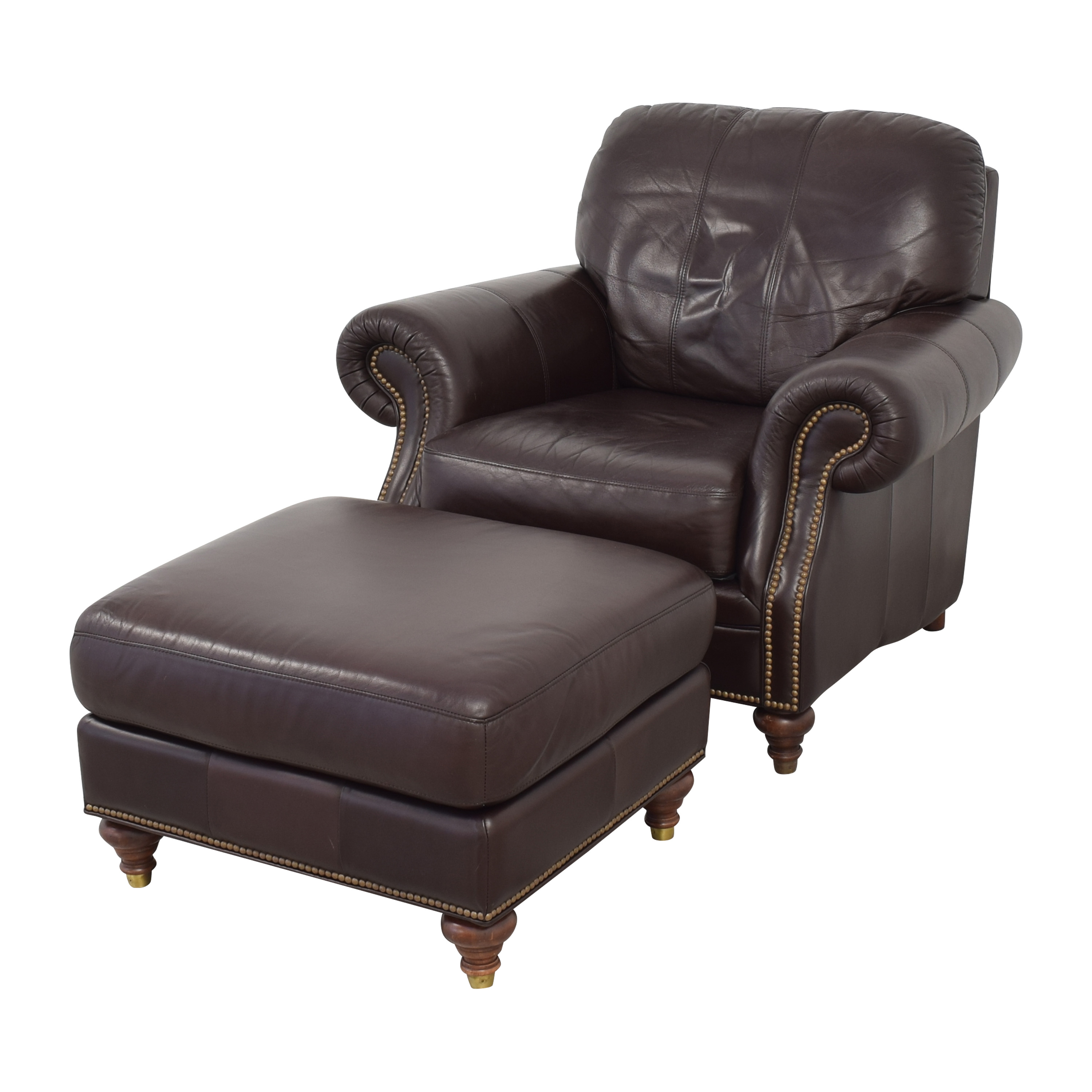 Ethan Allen Bennett Roll-Arm Leather Chair with ottoman / Chairs