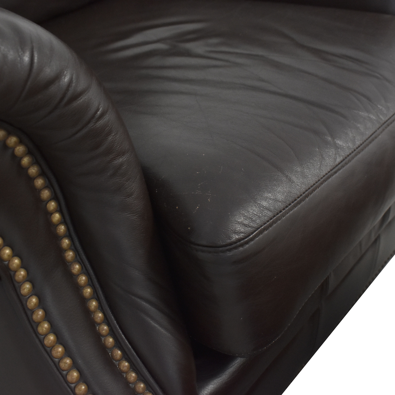 Ethan Allen Ethan Allen Bennett Roll-Arm Leather Chair with ottoman Chairs