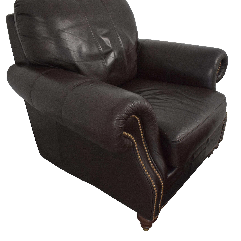 Ethan Allen Ethan Allen Bennett Roll-Arm Leather Chair with ottoman price