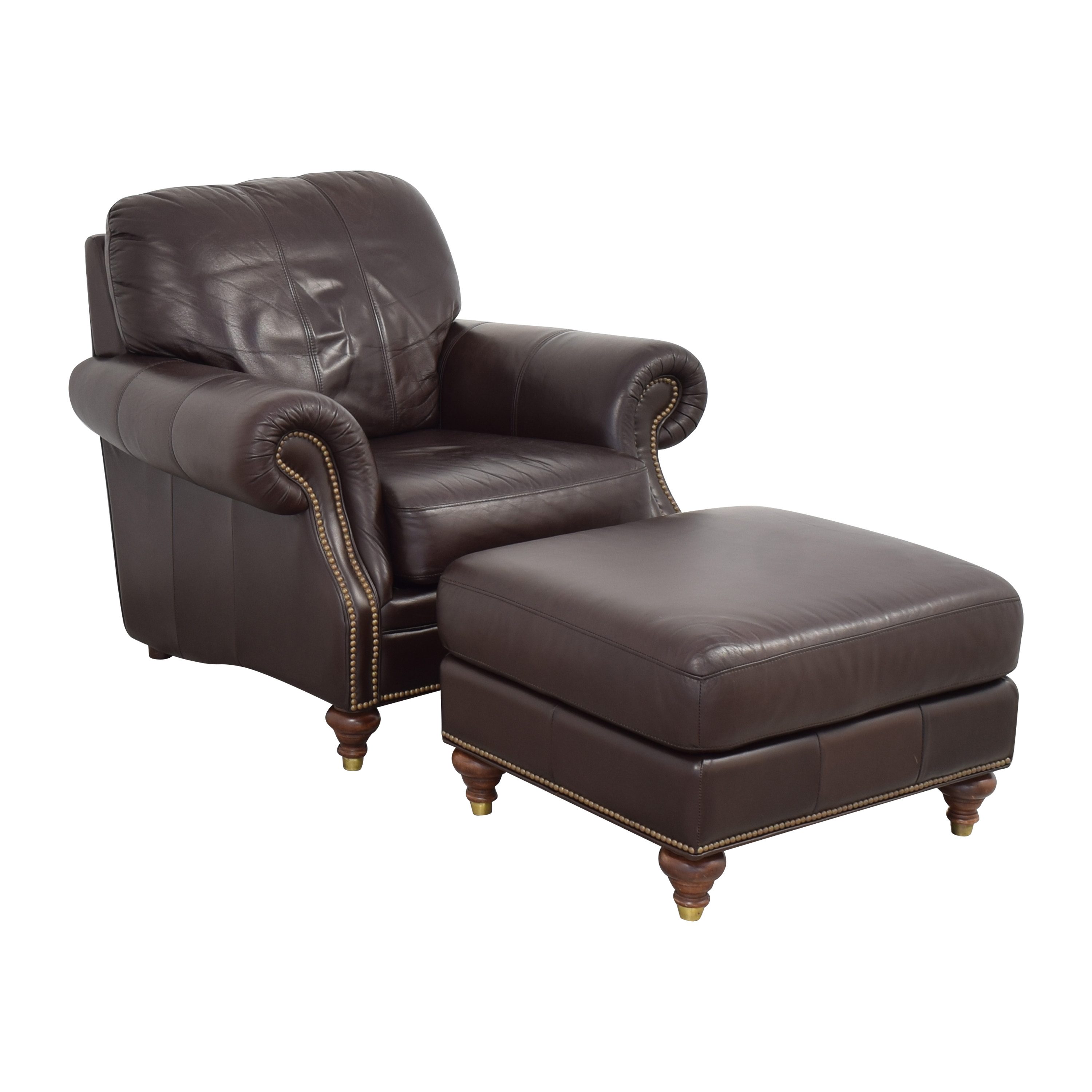 buy Ethan Allen Bennett Roll-Arm Leather Chair with ottoman Ethan Allen Accent Chairs