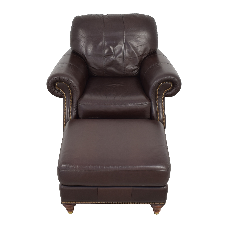 Ethan Allen Ethan Allen Bennett Roll-Arm Leather Chair with ottoman second hand